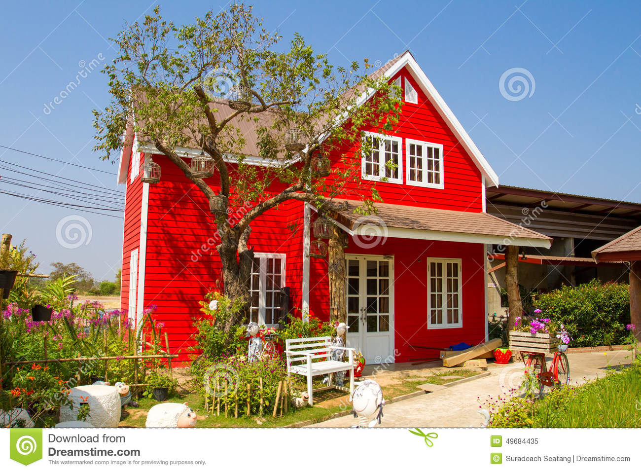 small country house meadow and wooden fence royalty free stock small red house royalty free stock photo
