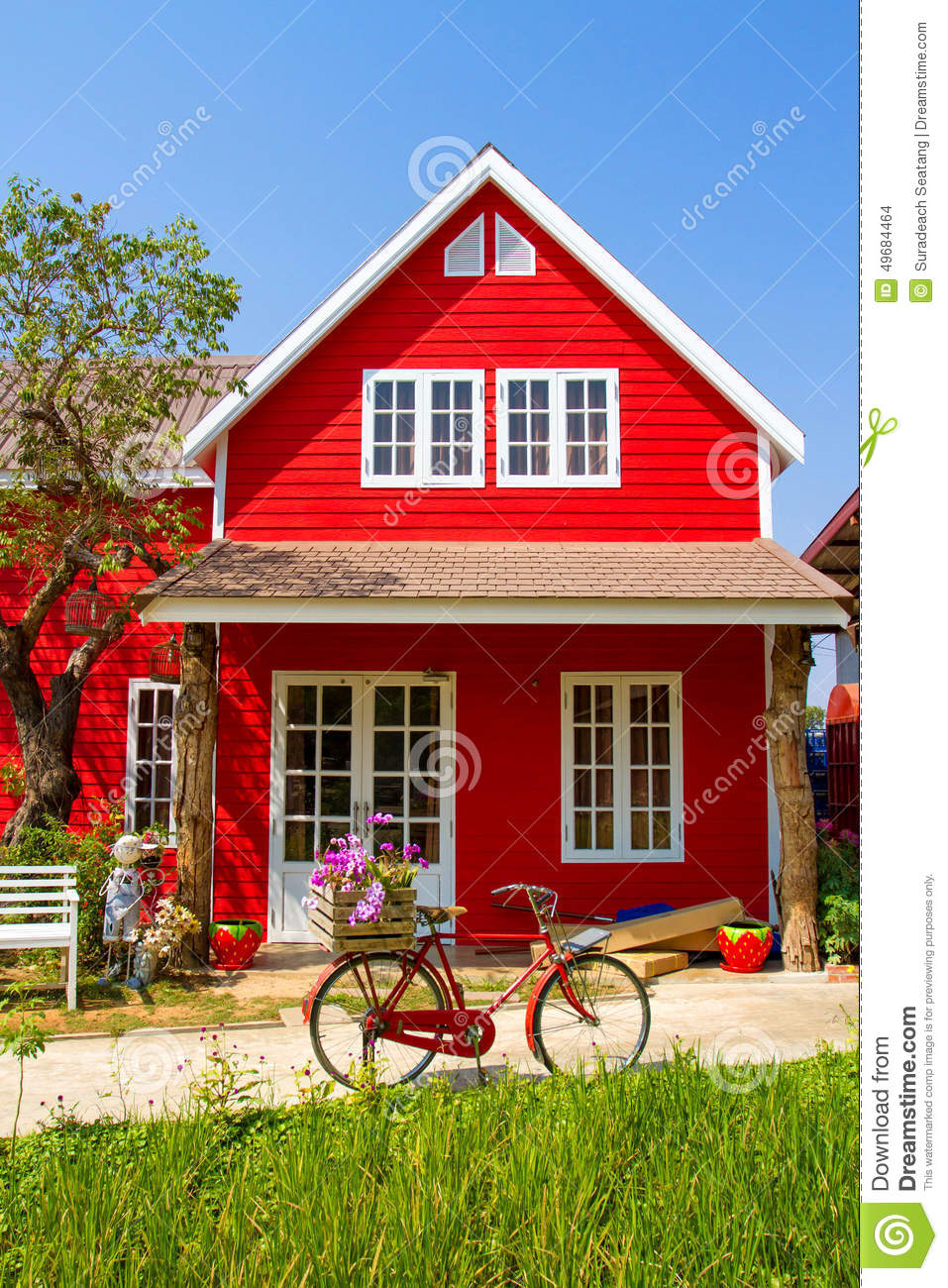 small red house farm thailand 49684464