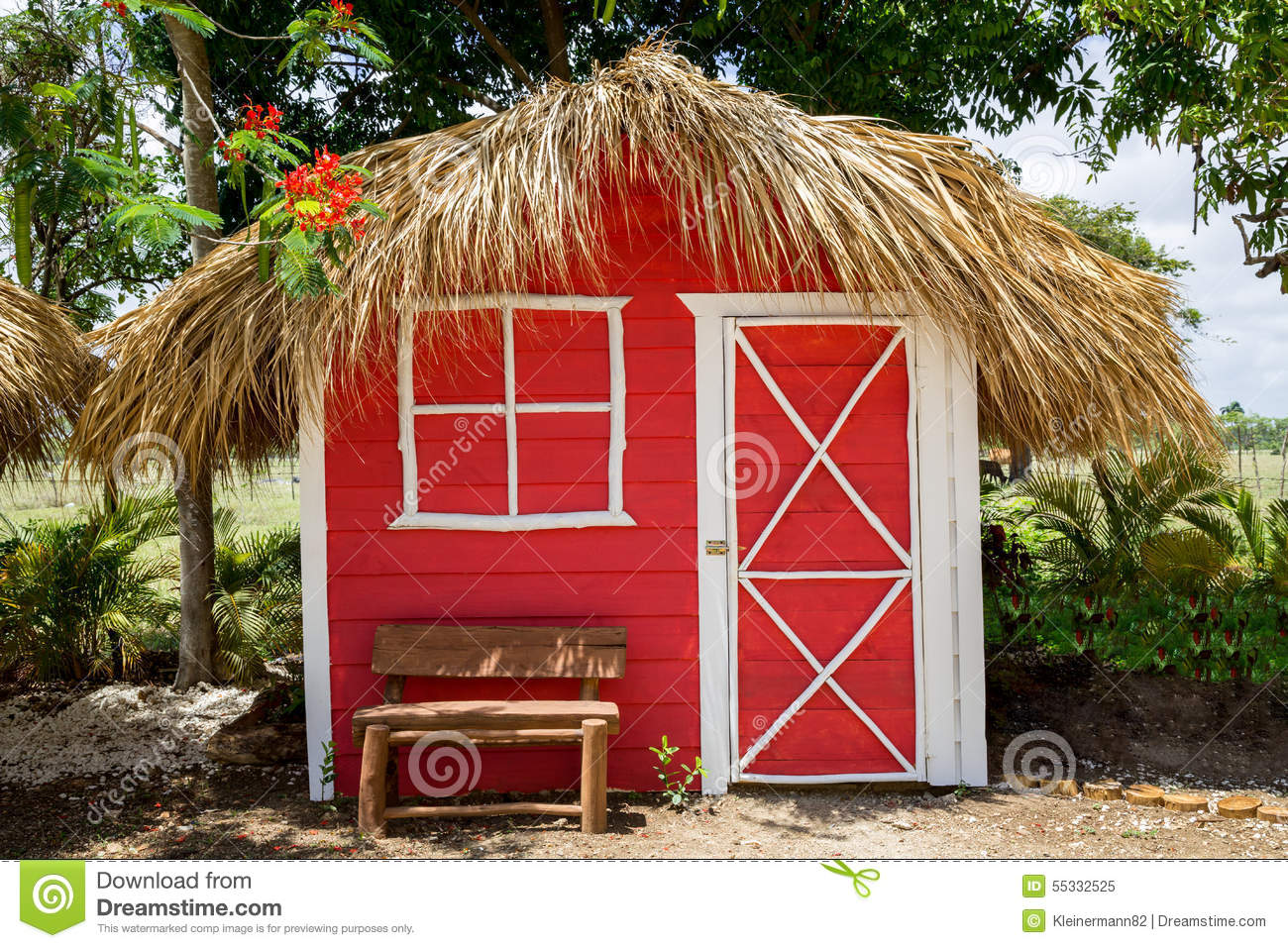 Small red house with palm leaves roof stock photo image for Leaf house tiny house