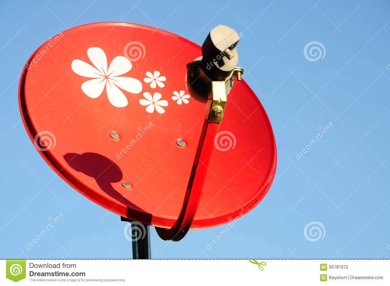 Small Red Satellite dish with blue sky