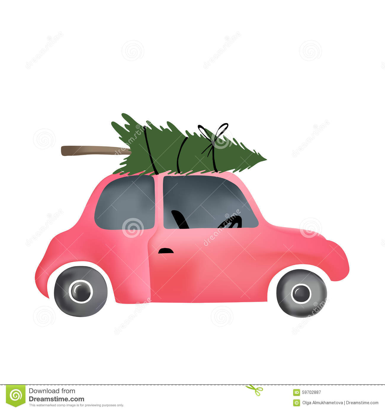 Small Red Vintage Car And Christmas Tree Stock Vector Image  - Christmas Tree On Car