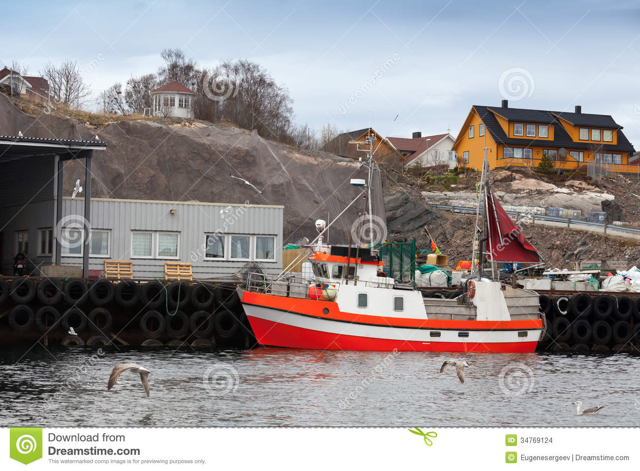 Small Red And White Fishing Boat In Norway Stock Images - Image ...