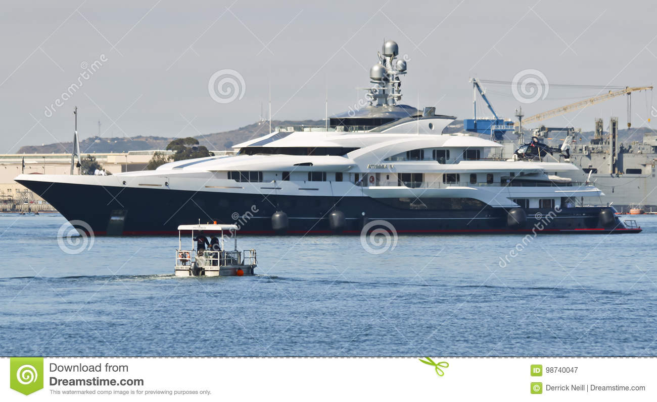 A Small Rescue Vessel Approaches Motor Super Yacht Attessa Iv