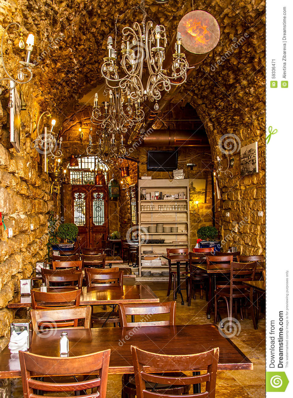 small restaurant in old jaffa stock image image of exterior