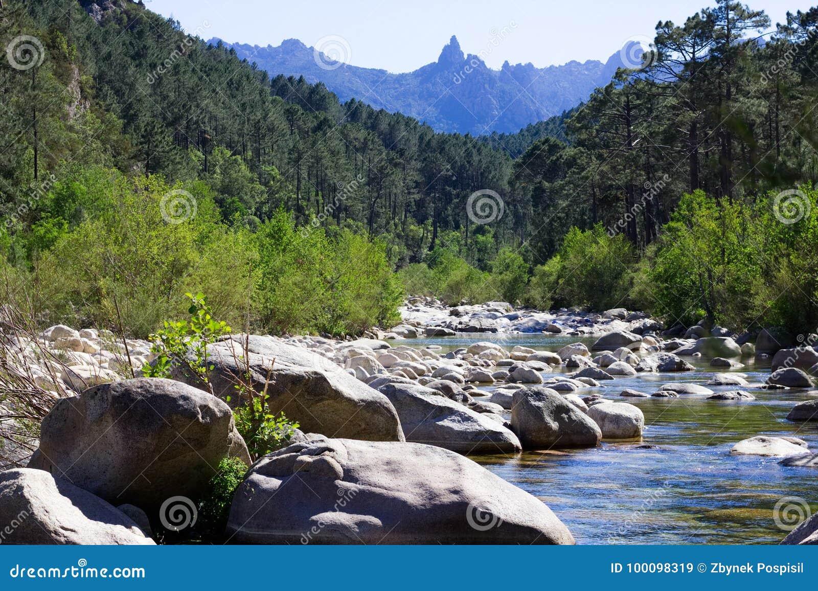 Small river in rocky hills in Col de Bavella mountains, Corsica