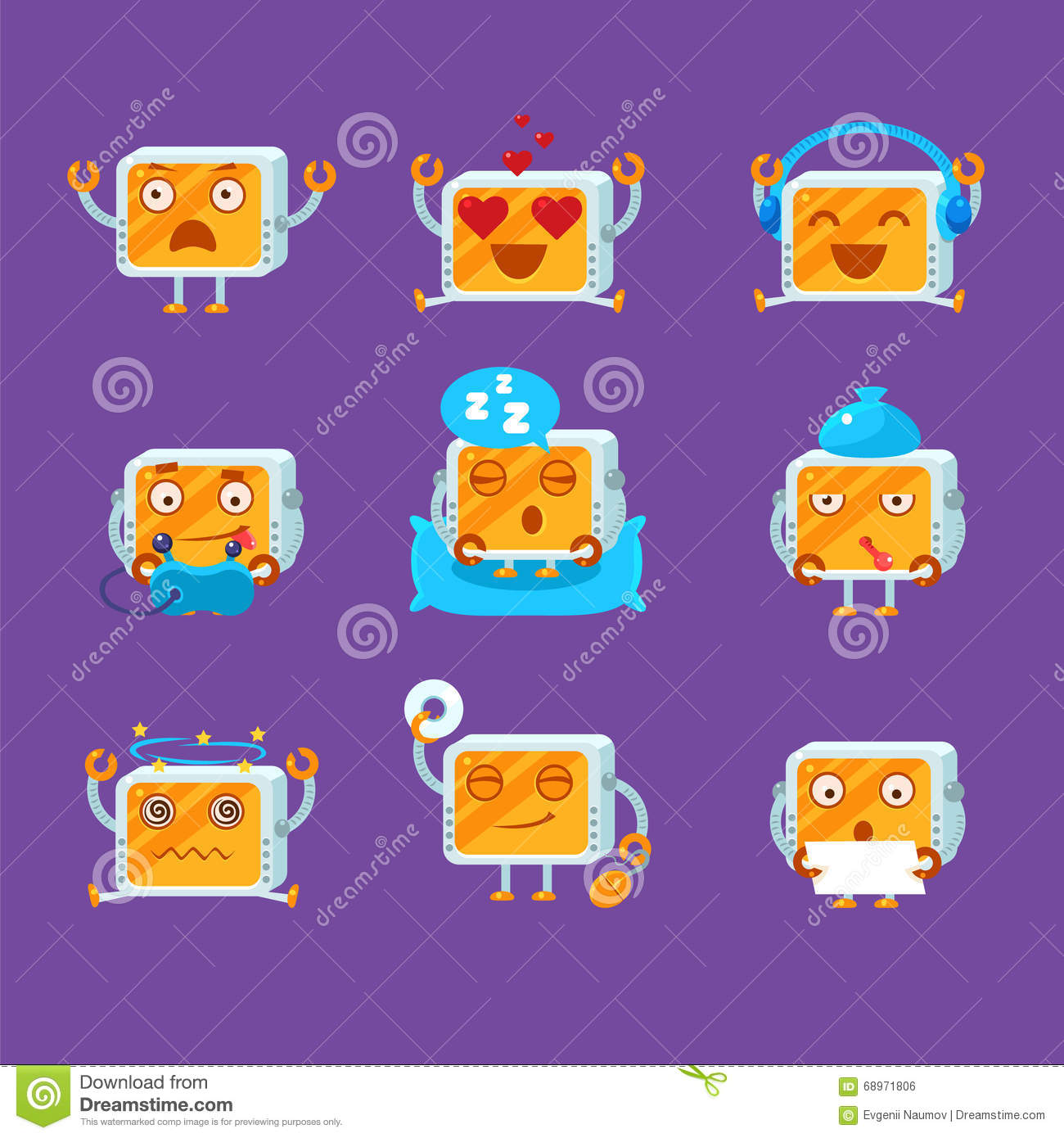Small Robot Emoji Set Stock Vector Illustration Of Funny 68971806