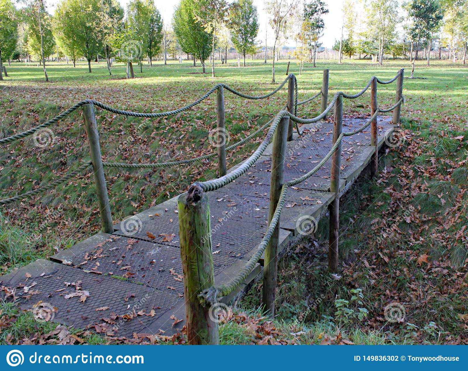 A small rope bridge crosses a ditch at Arley Arboretum in the Midlands in England