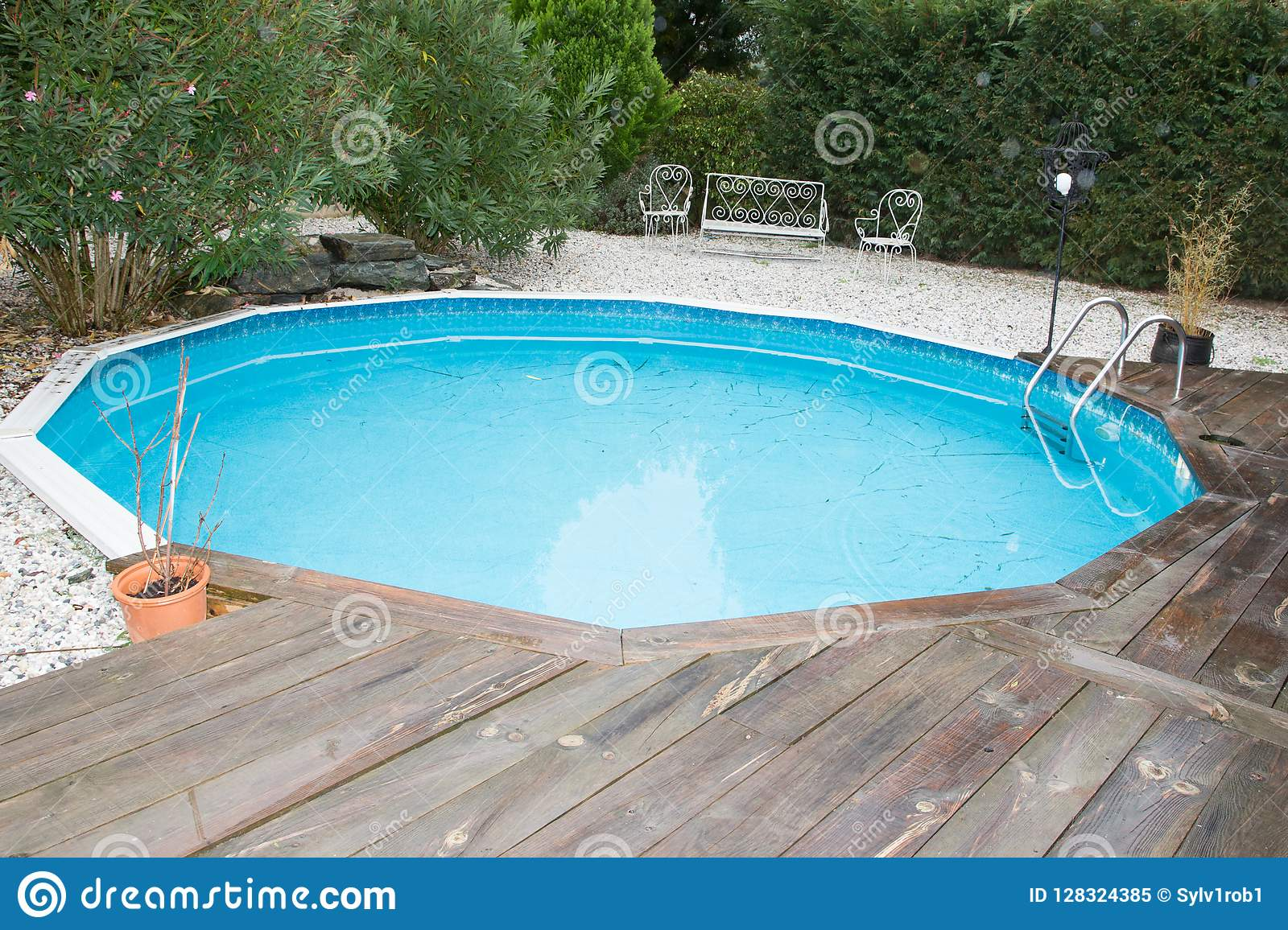 Small Round Swimming Pool In Home Garden Stock Image - Image of ...