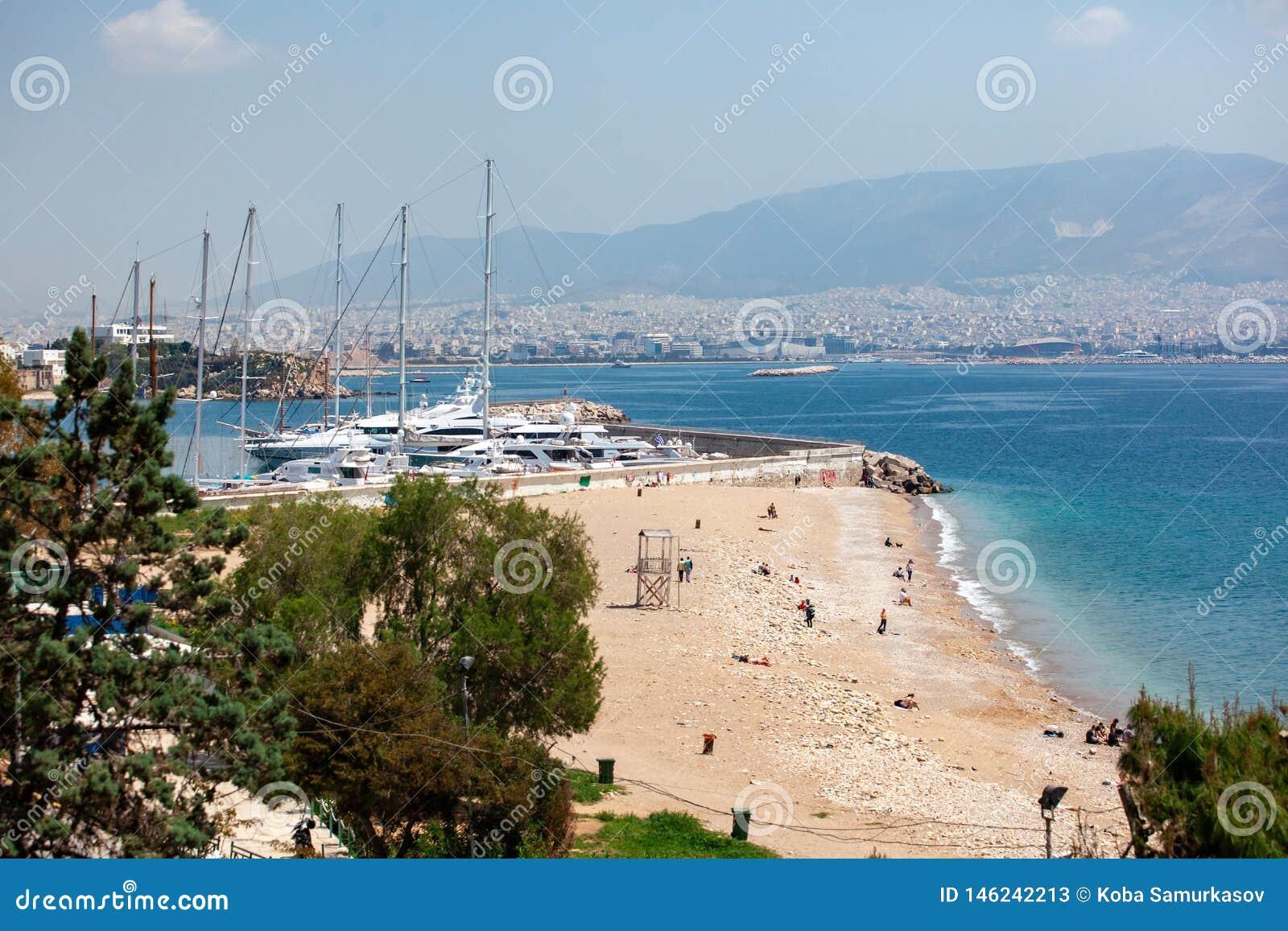 Small sailing boats and yachts docked at port of Piraeus, Greece