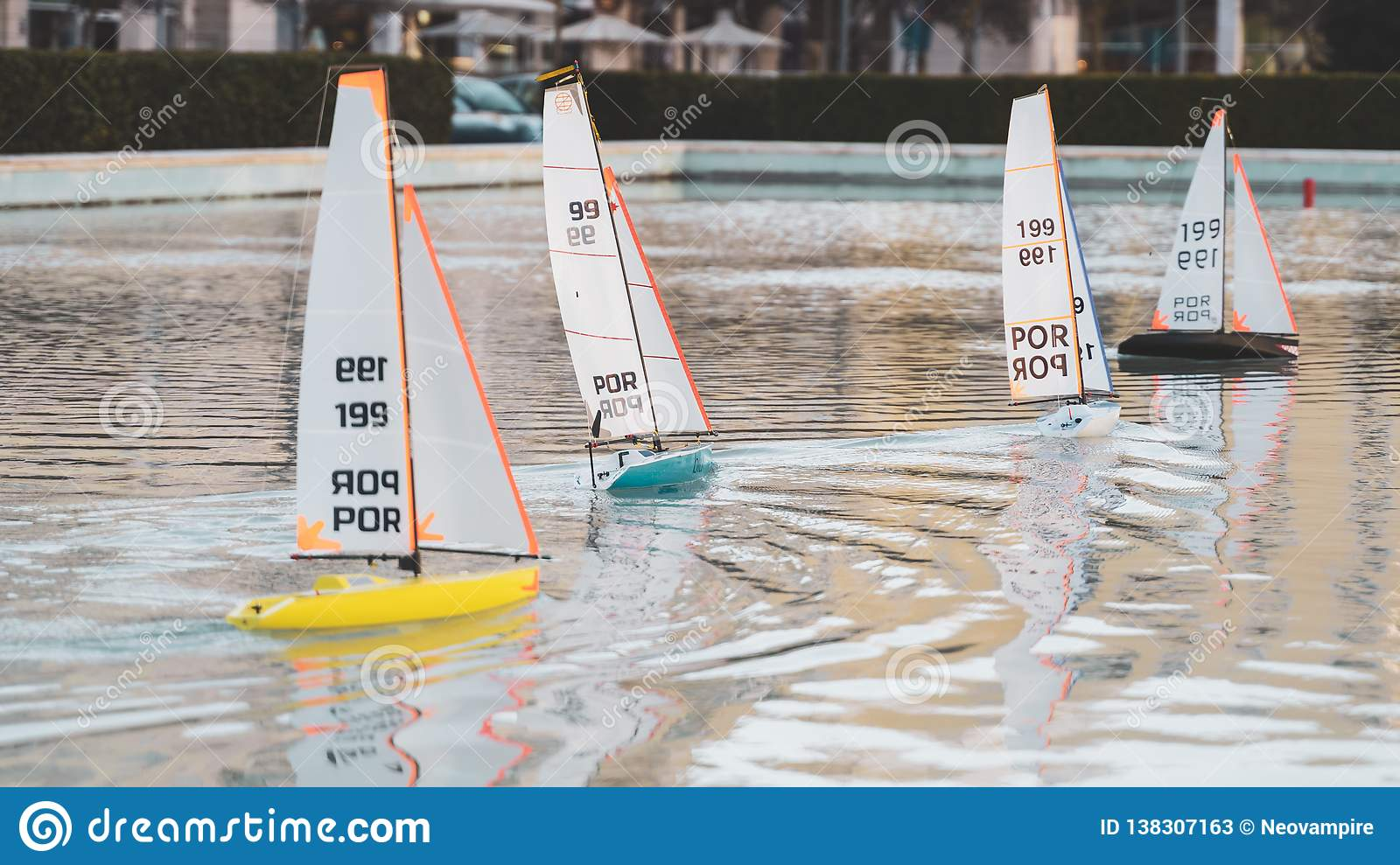 Small Sailing Toy Boats Race  Mini Remote Controlled Pond