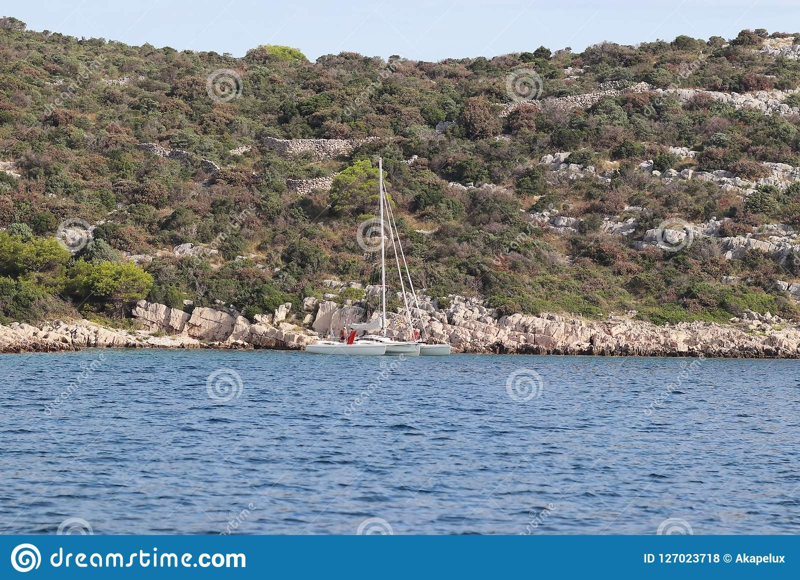 A small sailing trimaran on the background of the stony shore of the Croatian Riviera. The green island of the Adriatic Sea in Dal