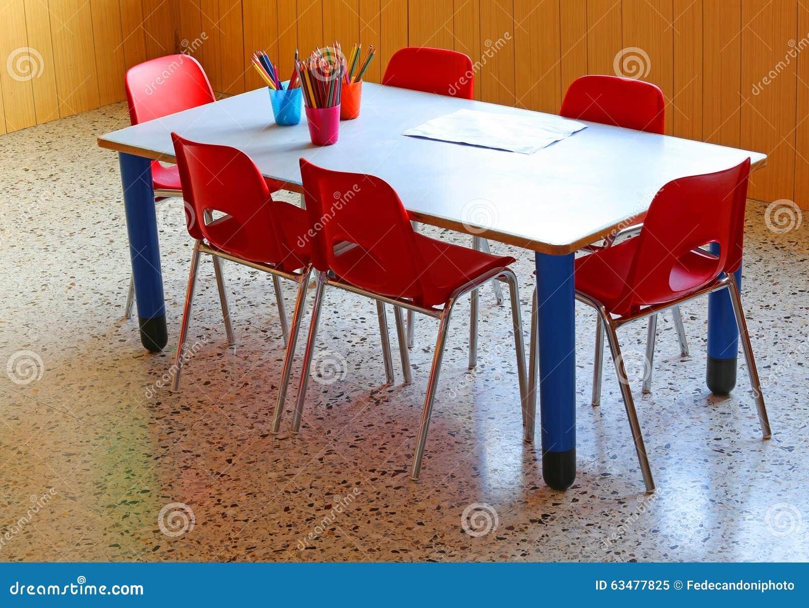 Groovy Small School Desk With Yellow Chairs In A Kindergarten Stock Inzonedesignstudio Interior Chair Design Inzonedesignstudiocom