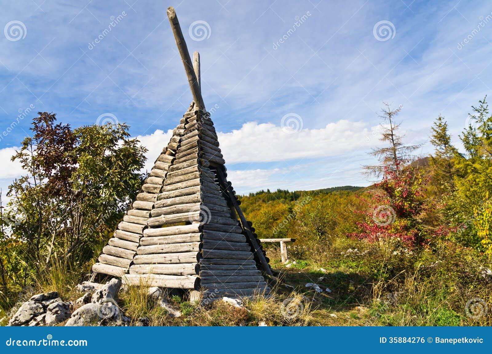 Small shepherd s hut on mount Bobija like a tent but made of wood. South serbia. & Small Shepherdu0027s Hut On Mount Bobija Like A Tent But Made Of Wood ...
