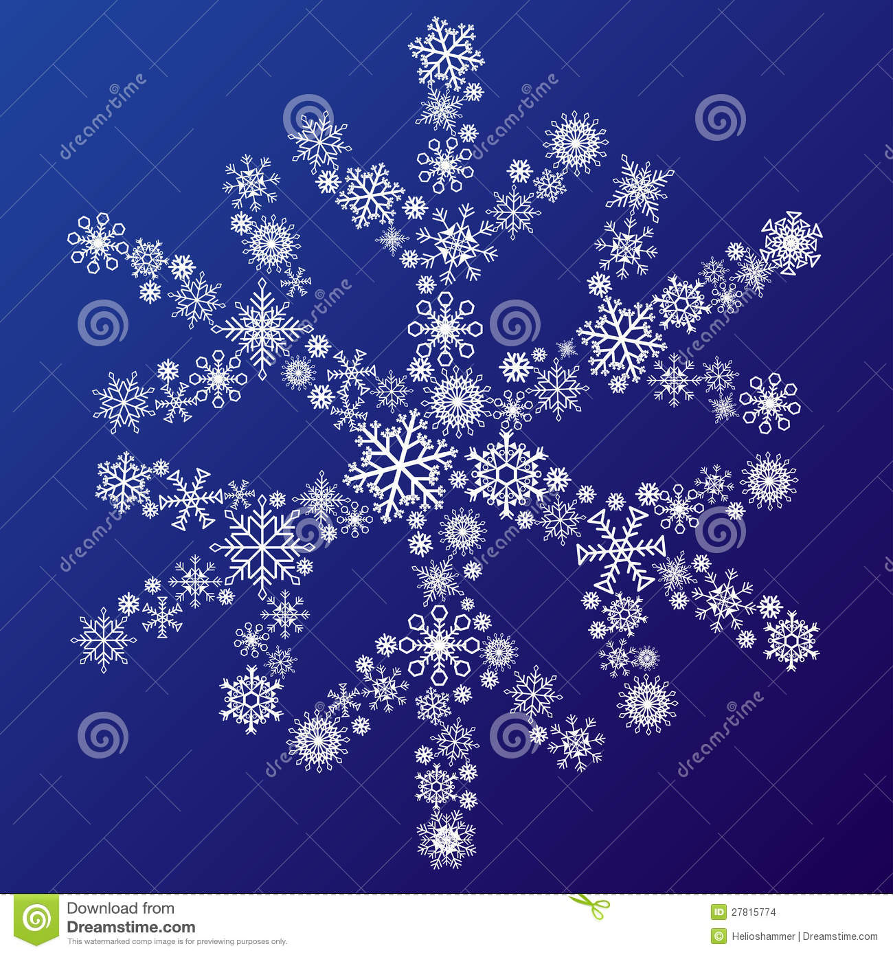 small snowflakes forming a big snowflake stock images