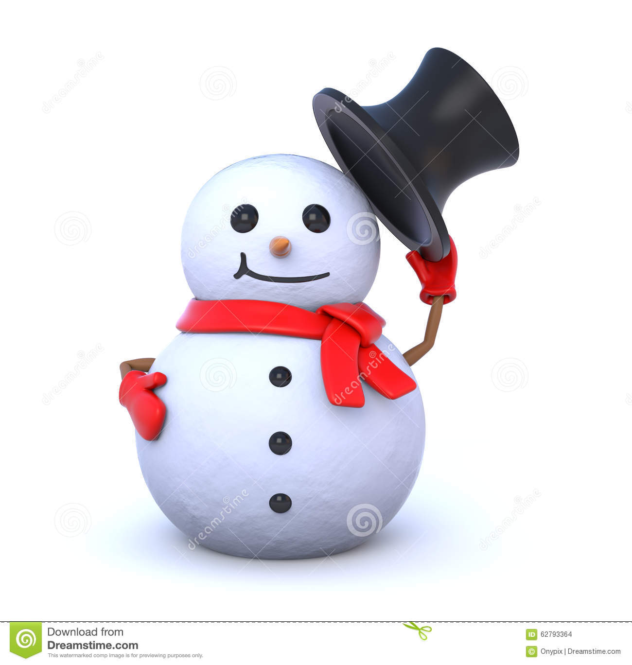 small snowman takes off his hat stock illustration image
