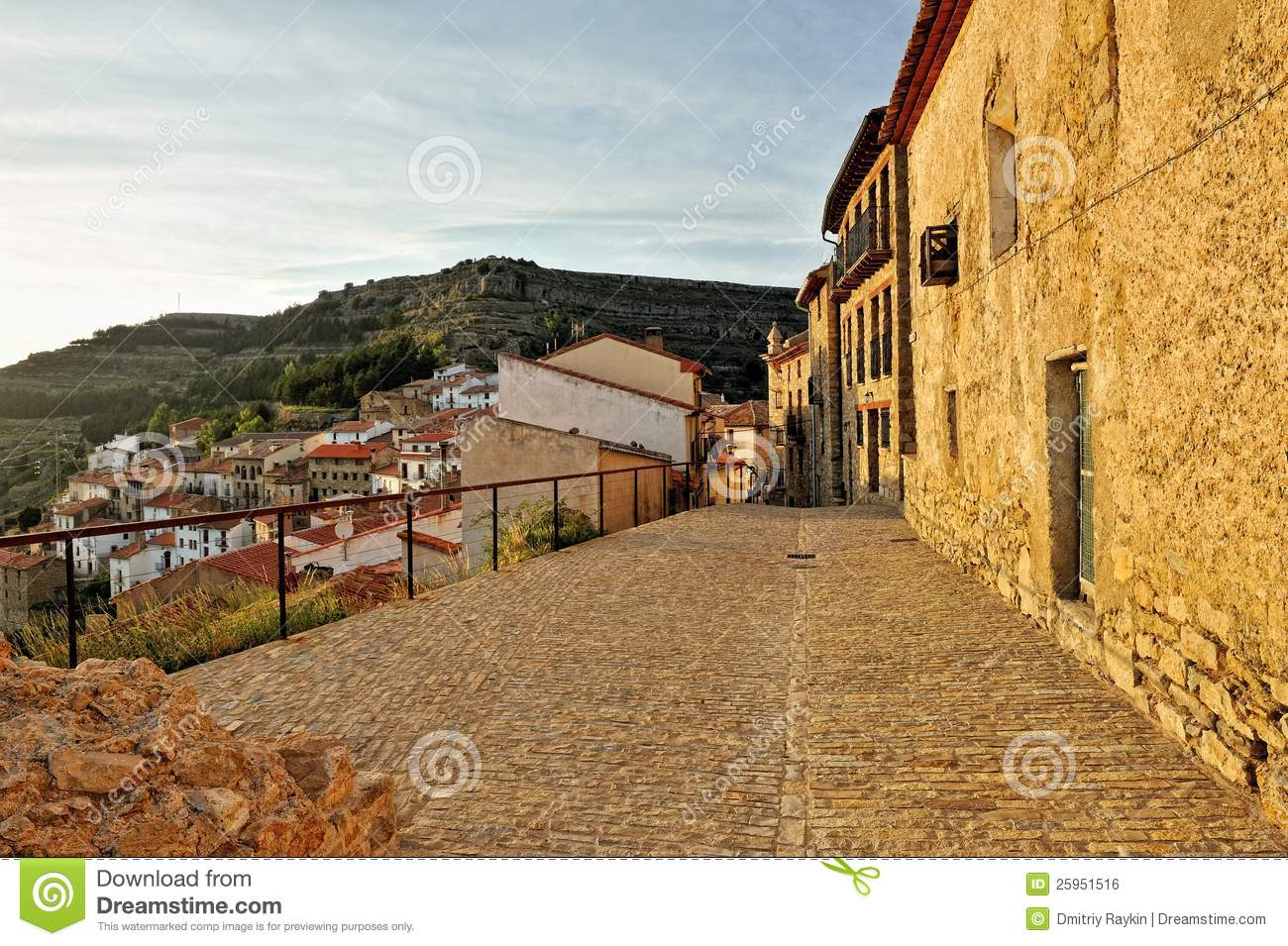 Small Spanish Old Town Ares With Mountains View Royalty
