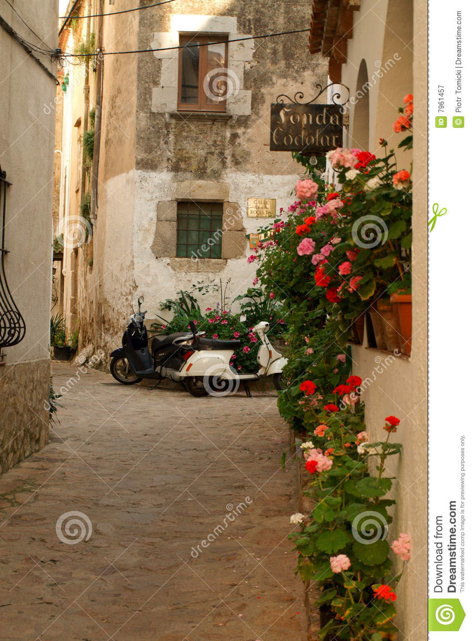 Small Spanish Town Stock Image. Image Of Trip, Alley