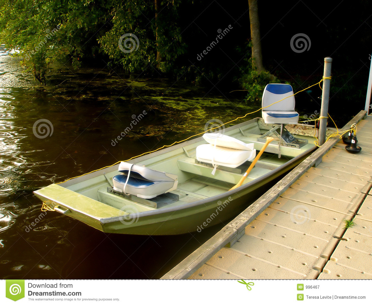 small sport fishing boat in lake royalty free stock