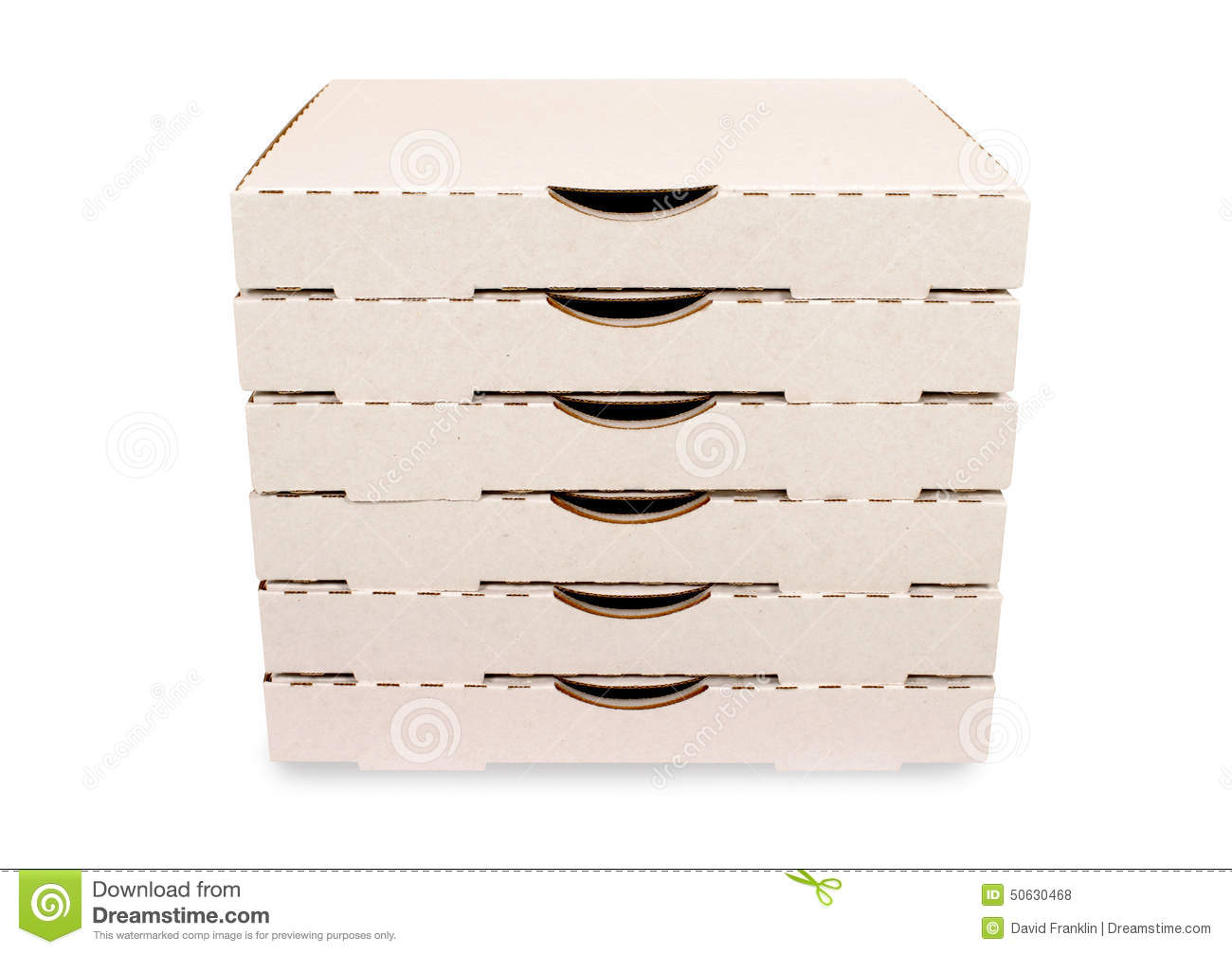 Stack Of Plain White Pizza Boxes Isolated Stock Photo