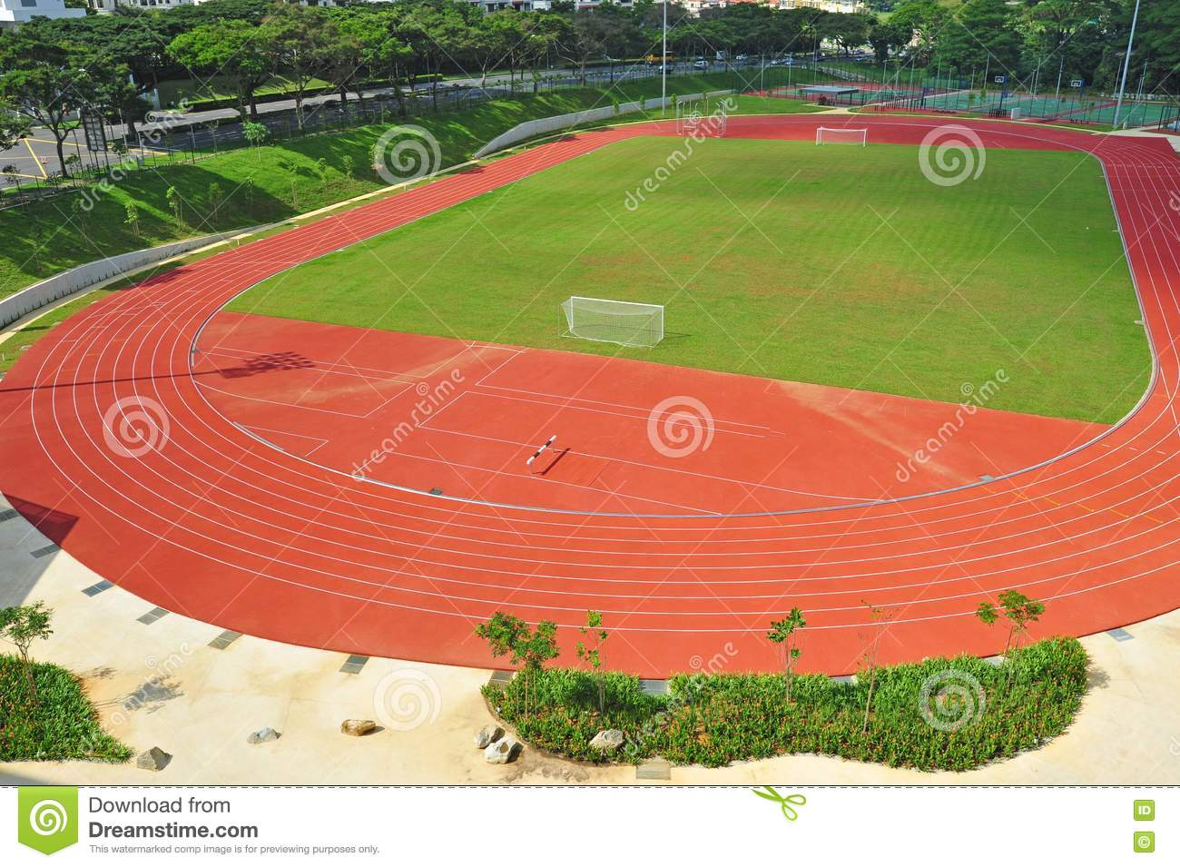 Small stadium with running track royalty free stock photos image