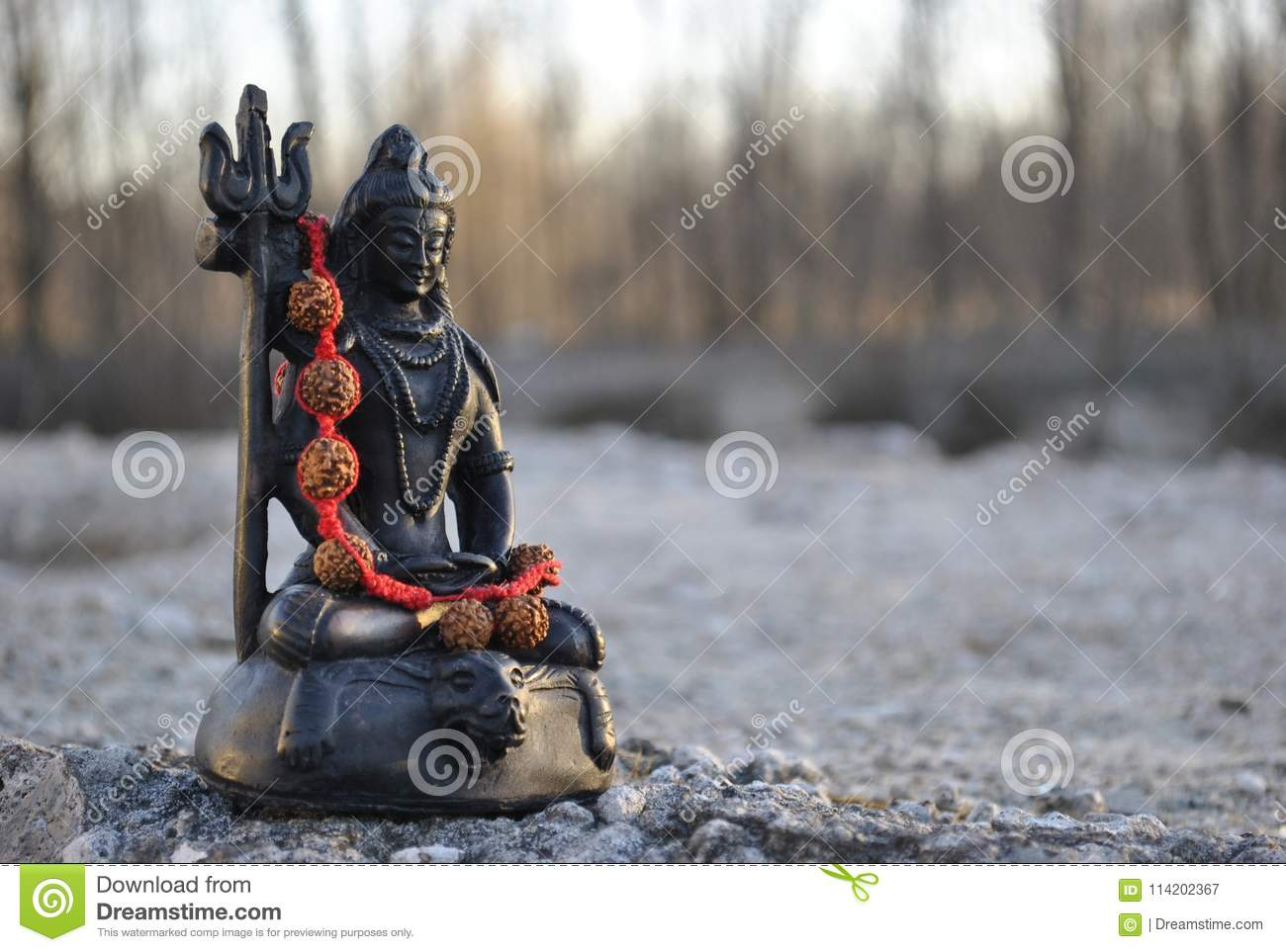 small statue lord shiva ground red beads n 114202367