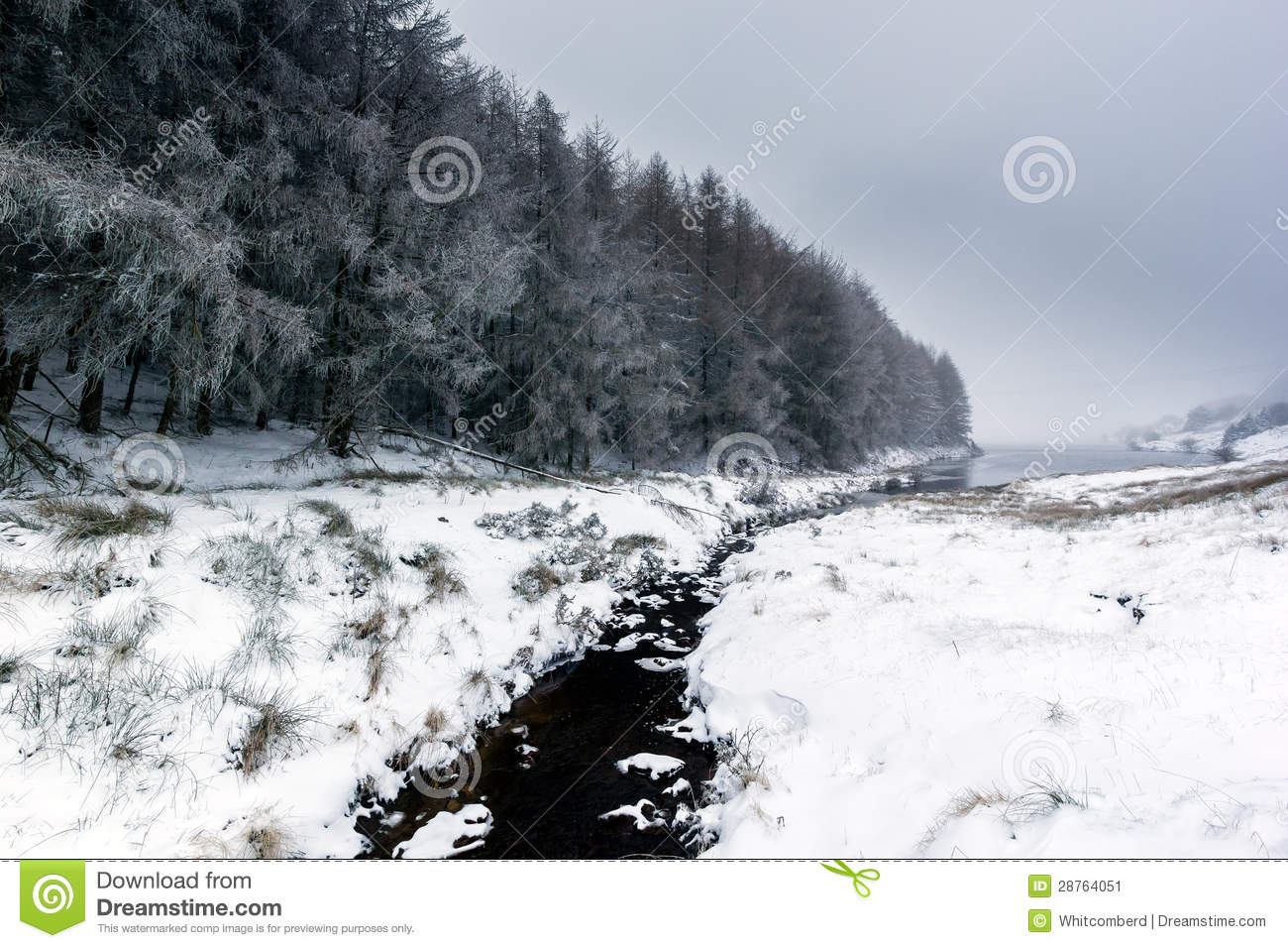 Small stream running through a snow capped landscape