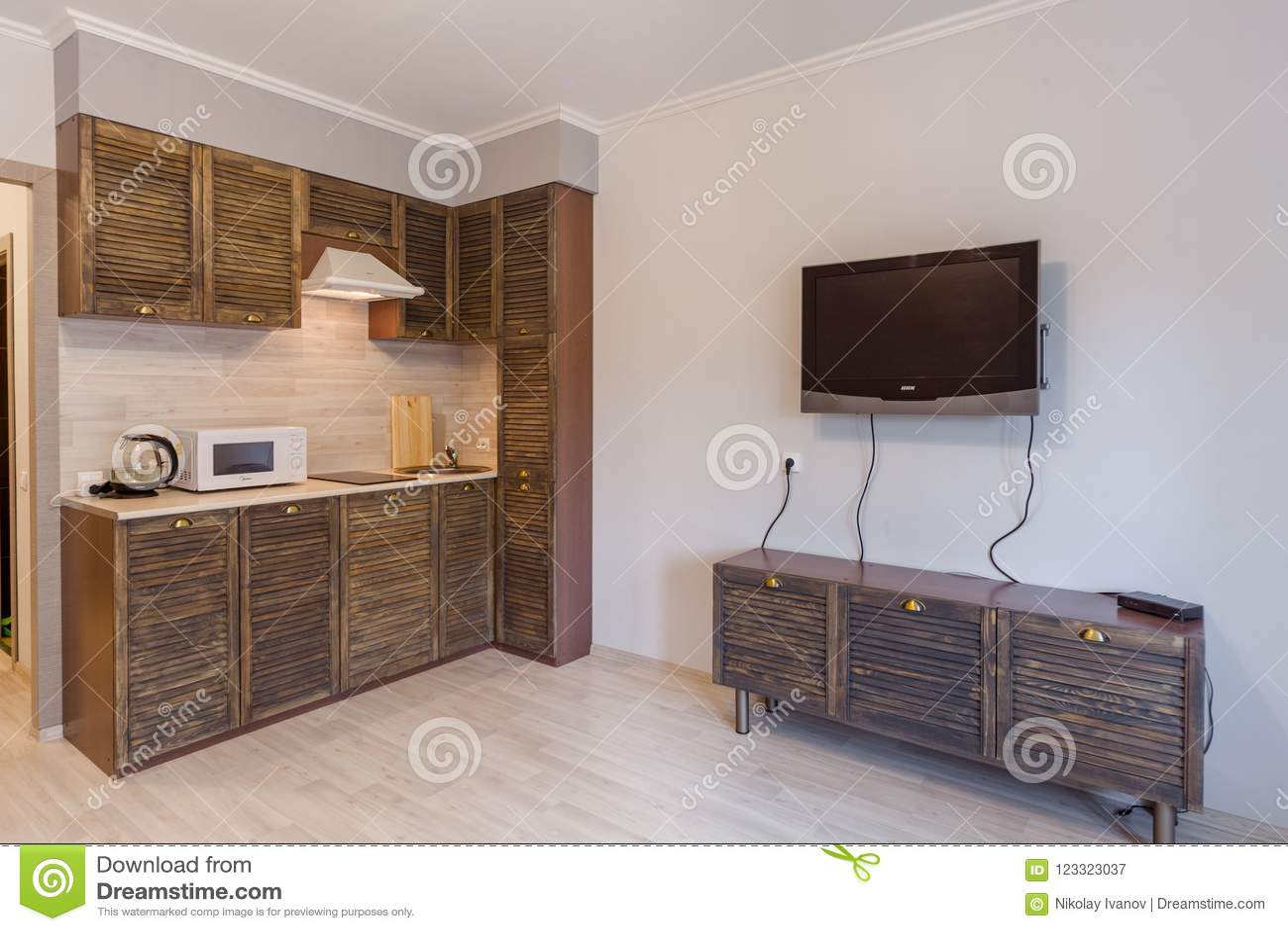 Small Studio Apartment And Kitchen Hightech Interior Stock ...