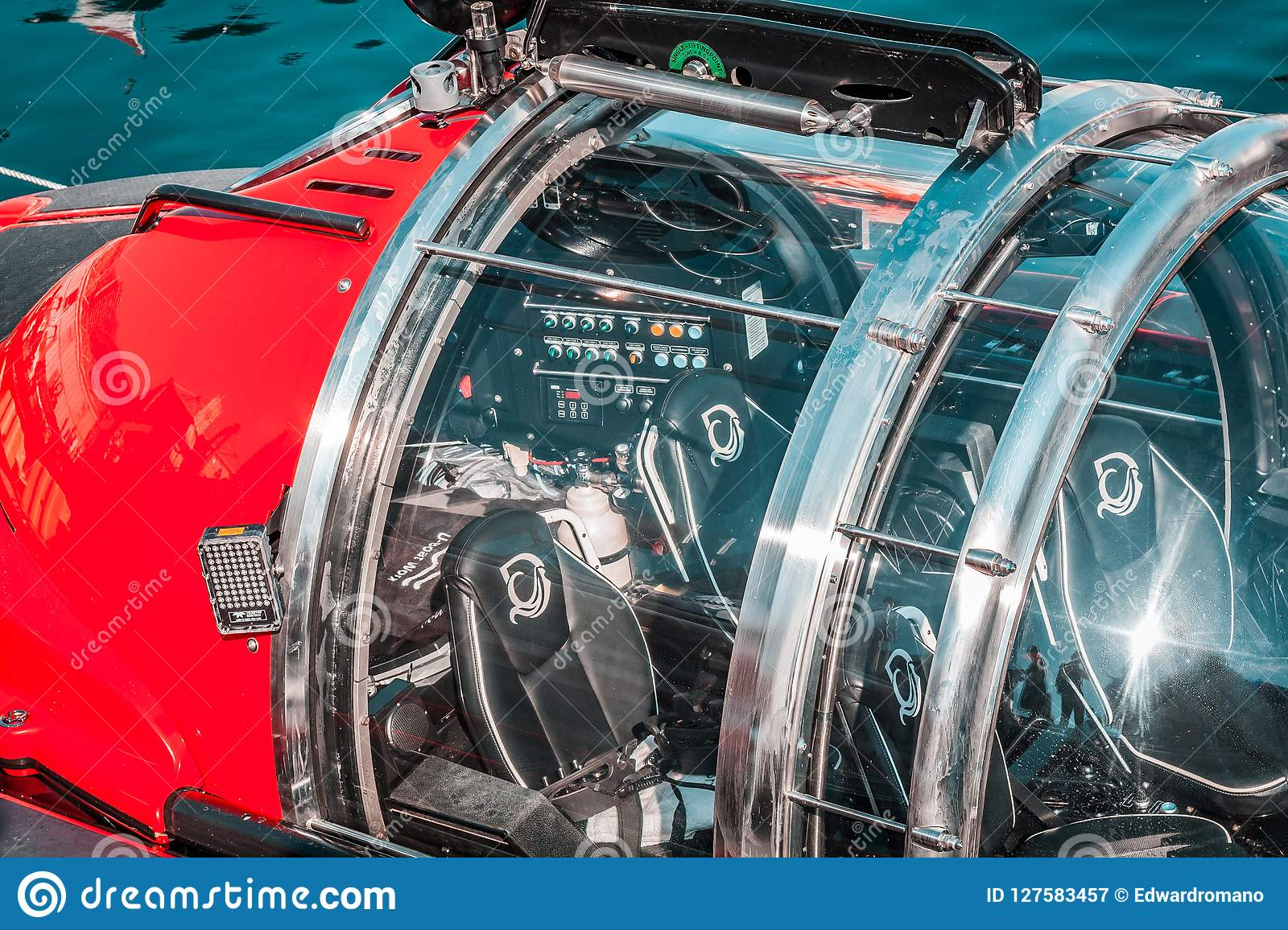Small Submarine, Red Color  Round Hatch, Scuba Diving, Underwater