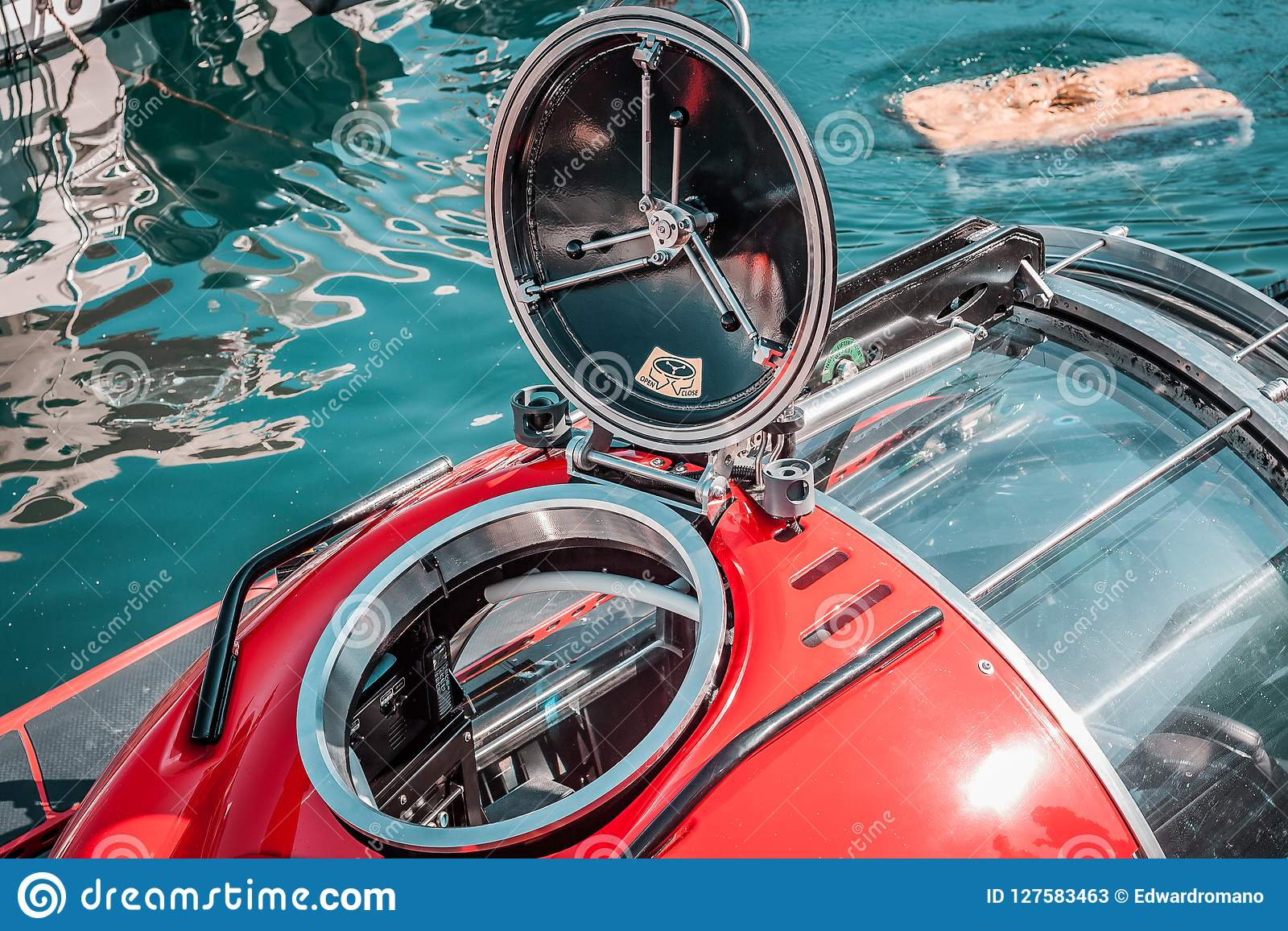 Small Submarine, Red Color  Round Hatch, Scuba Diving