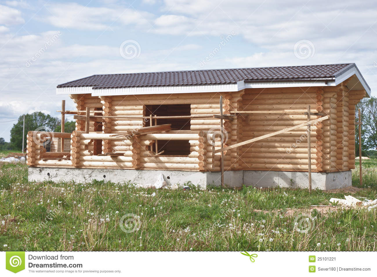 Stock Image Small Suburban House Under Construction Image25101221 on Small Rustic Cabin Home Plans