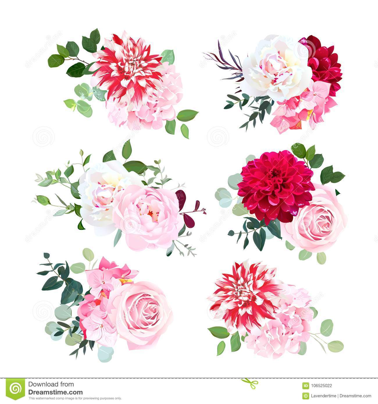 4c91a0daa1261 Small summer bouquets of pink rose, white peony, red dahlia, hydrangea,  green plants, eucalyptus. Vector design set. Bunch of flowers. All elements  are ...