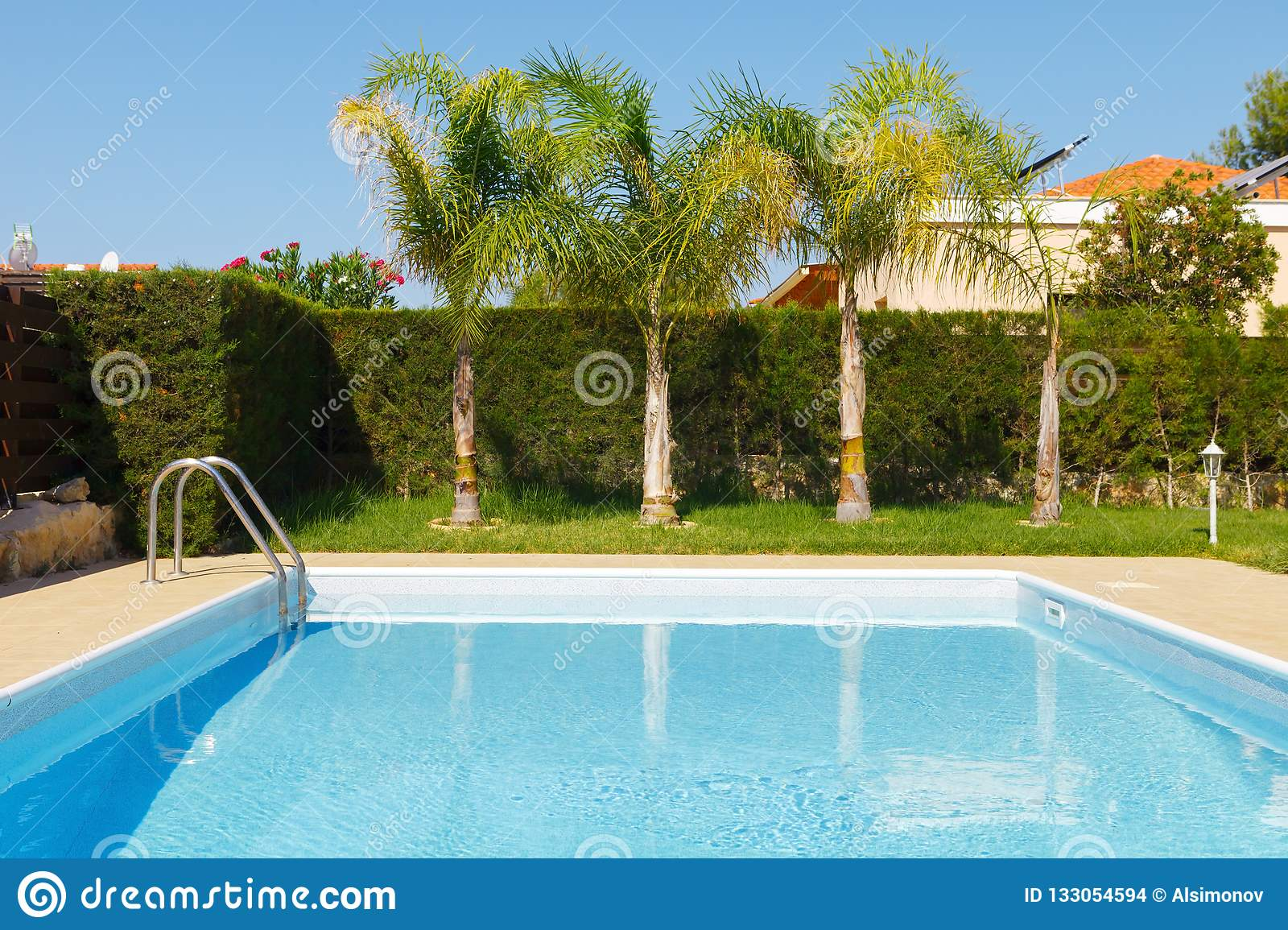 Small Swimming Pool With Clean Blue Water In The Yard Of A