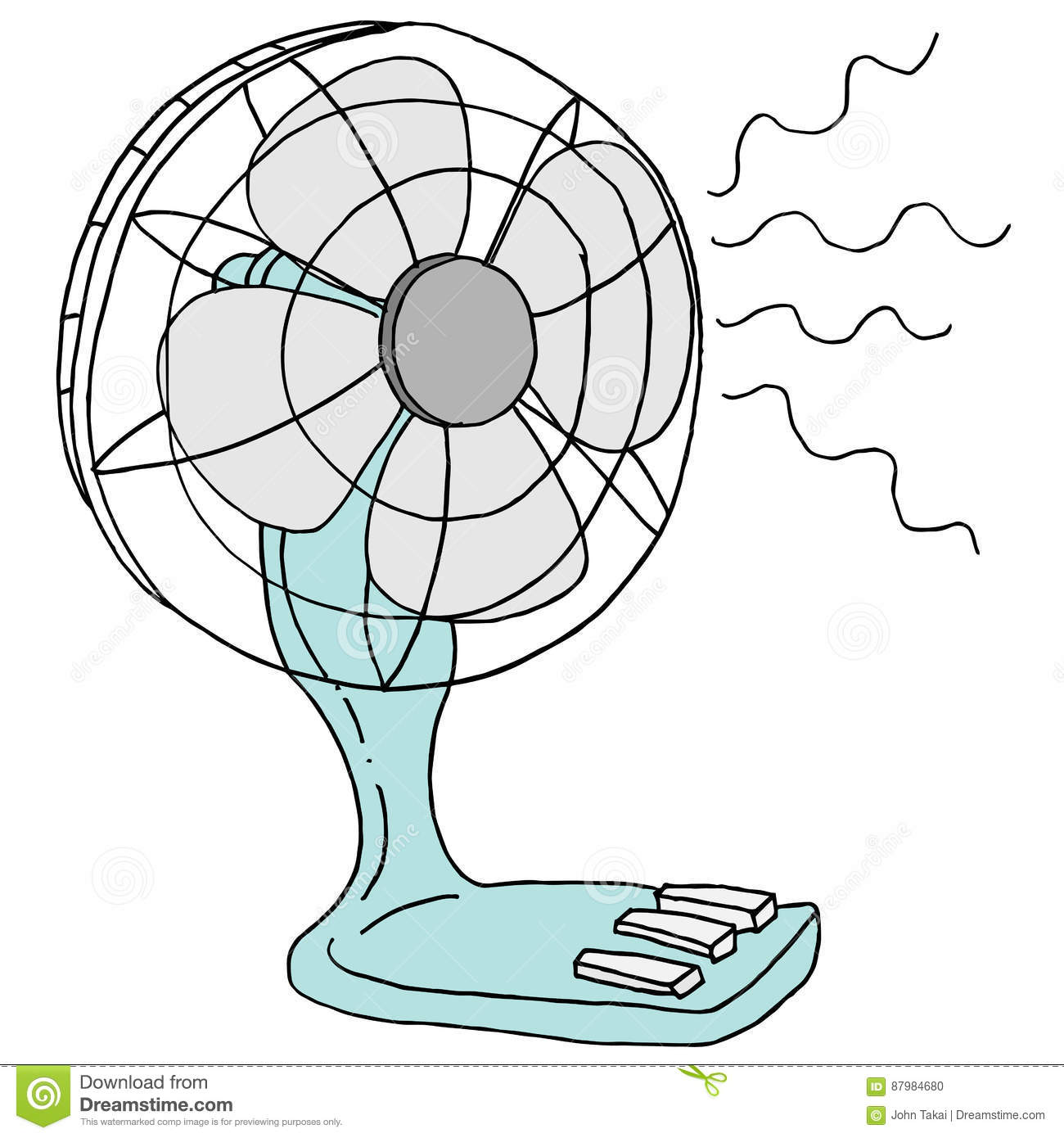 Small Table Top Electric Desk Fan Stock Vector Illustration Of Diagram All Picture