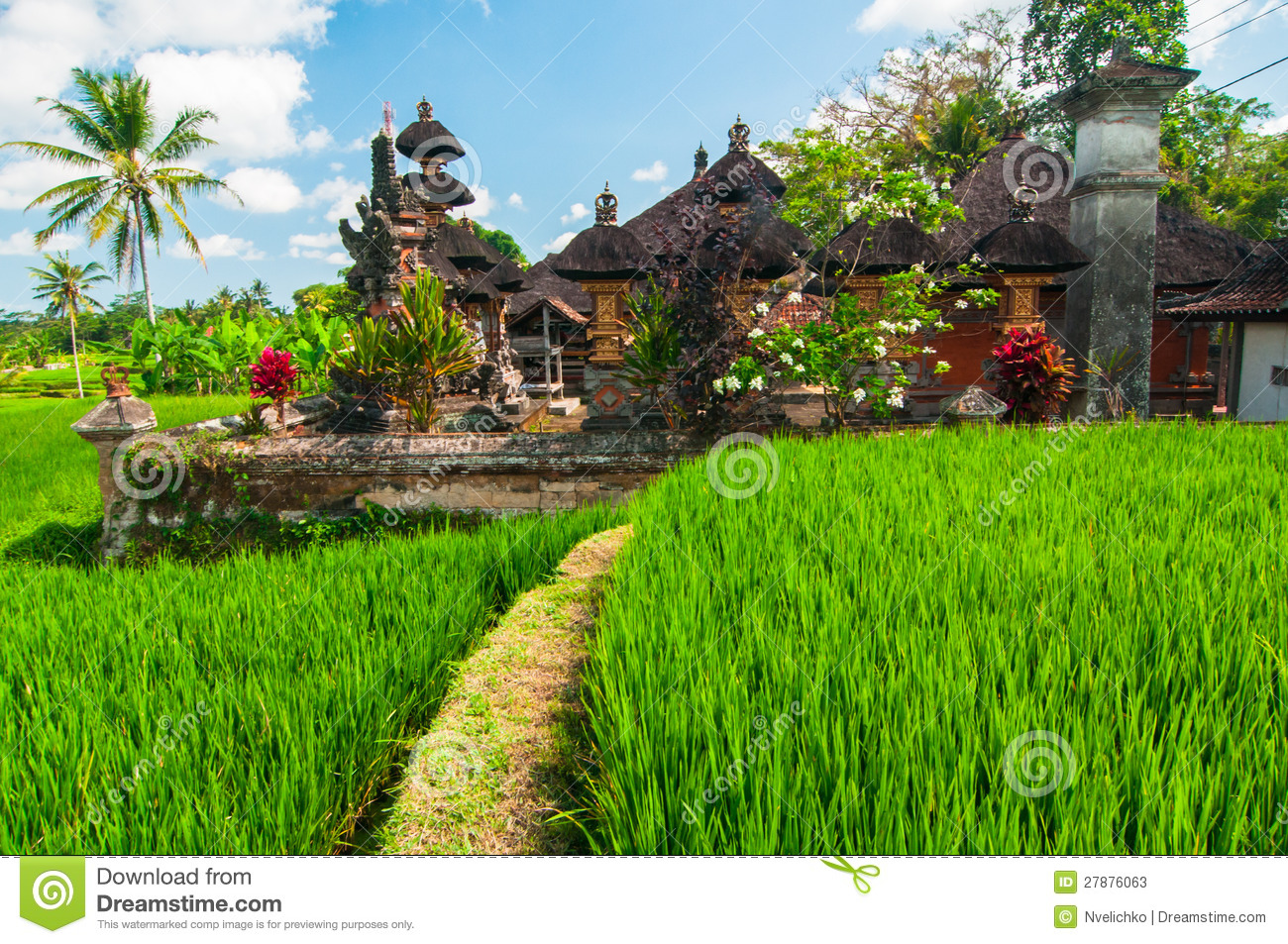 Small Temple At Rice Terrace Bali Indonesia Stock Image