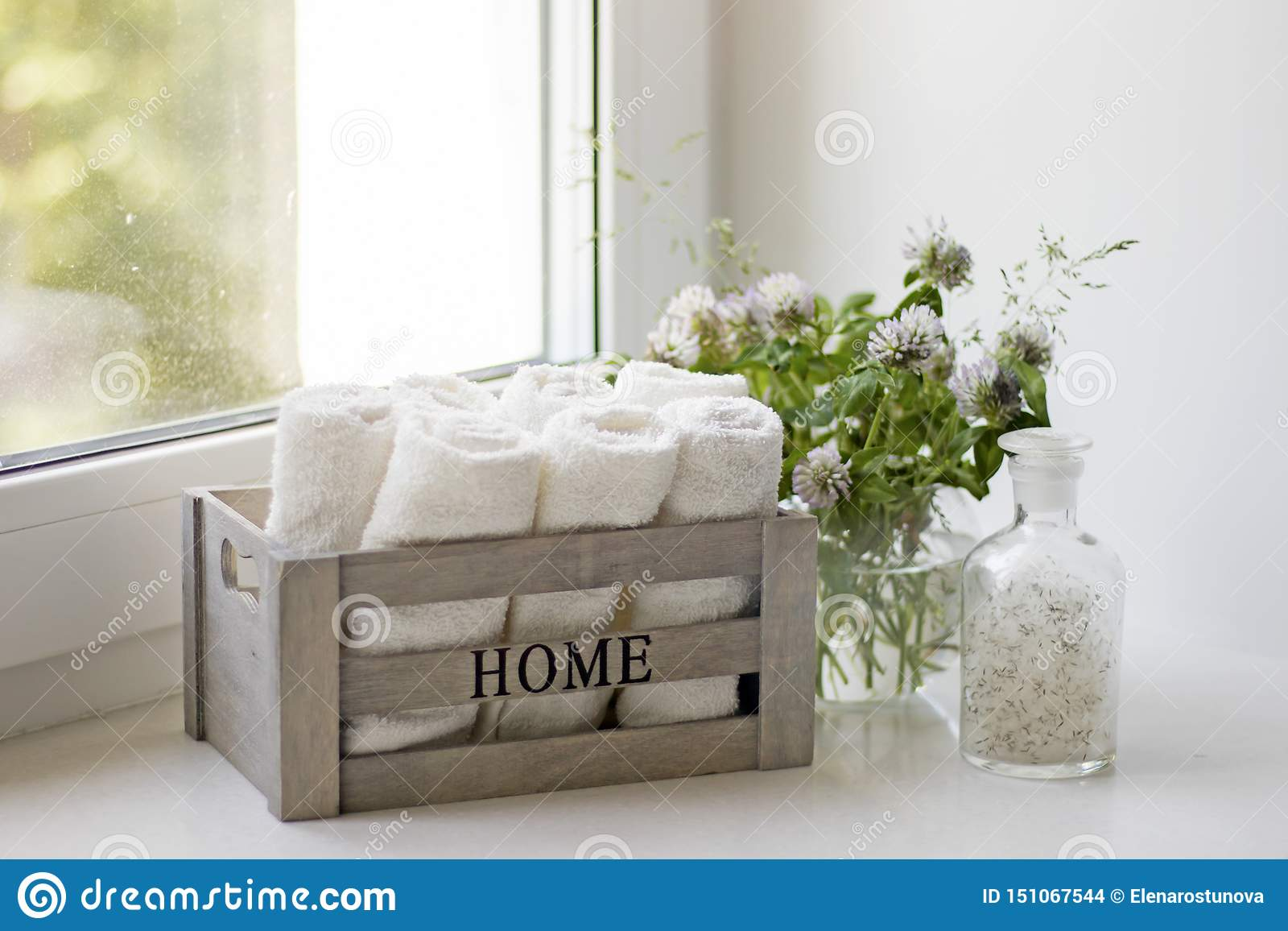 Small Terry Hand Towels Rolled Into Rolls In Wooden Box On A Window In The Bathroom Stock Photo Image Of Plant Interior 151067544