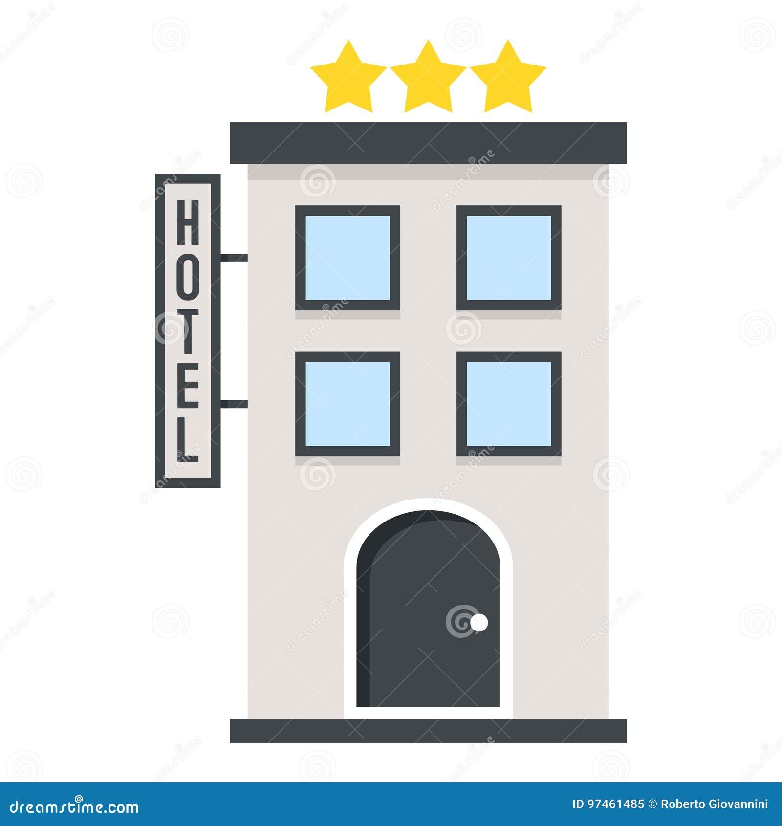 Three Stars Hotel Flat Icon Isolated on White
