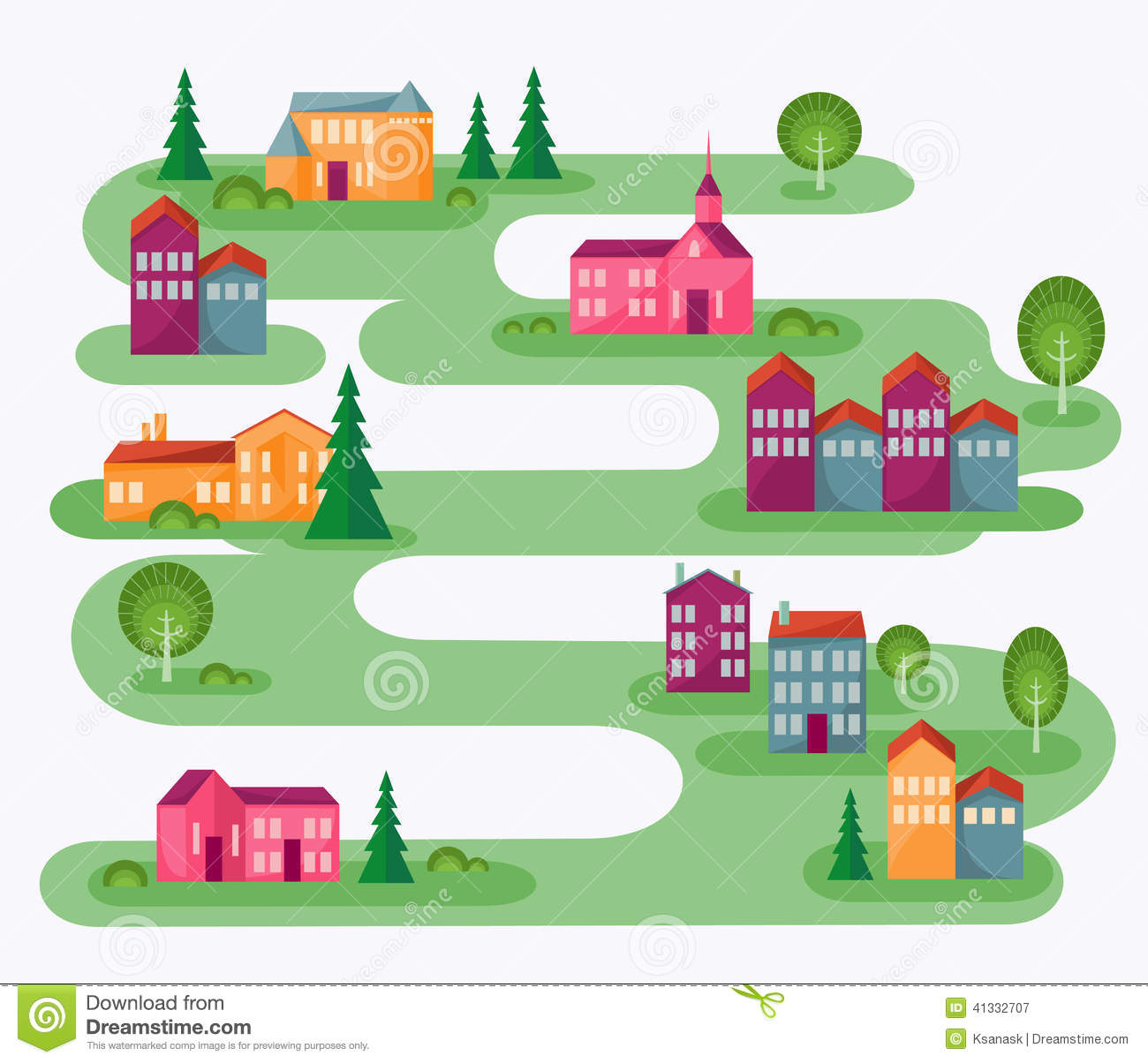 Town Landscape Vector Illustration: Small Town Stock Vector. Illustration Of Countryside