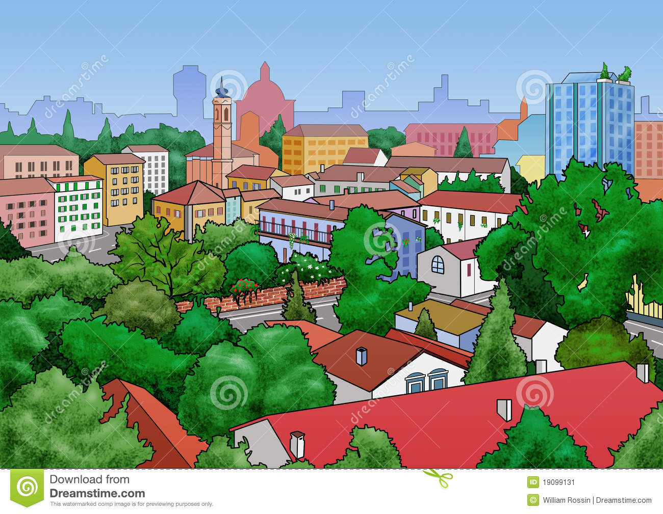 Town Landscape Vector Illustration: Small Town Landscape Stock Illustration. Illustration Of