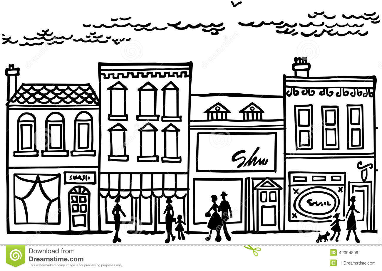 Stock Illustration Small Town Main Street Image42094809 on 8 dogs illustration