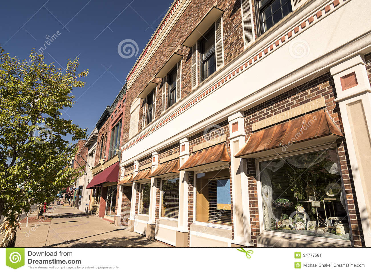 Small Town Main Street Stock Image Image Of Village