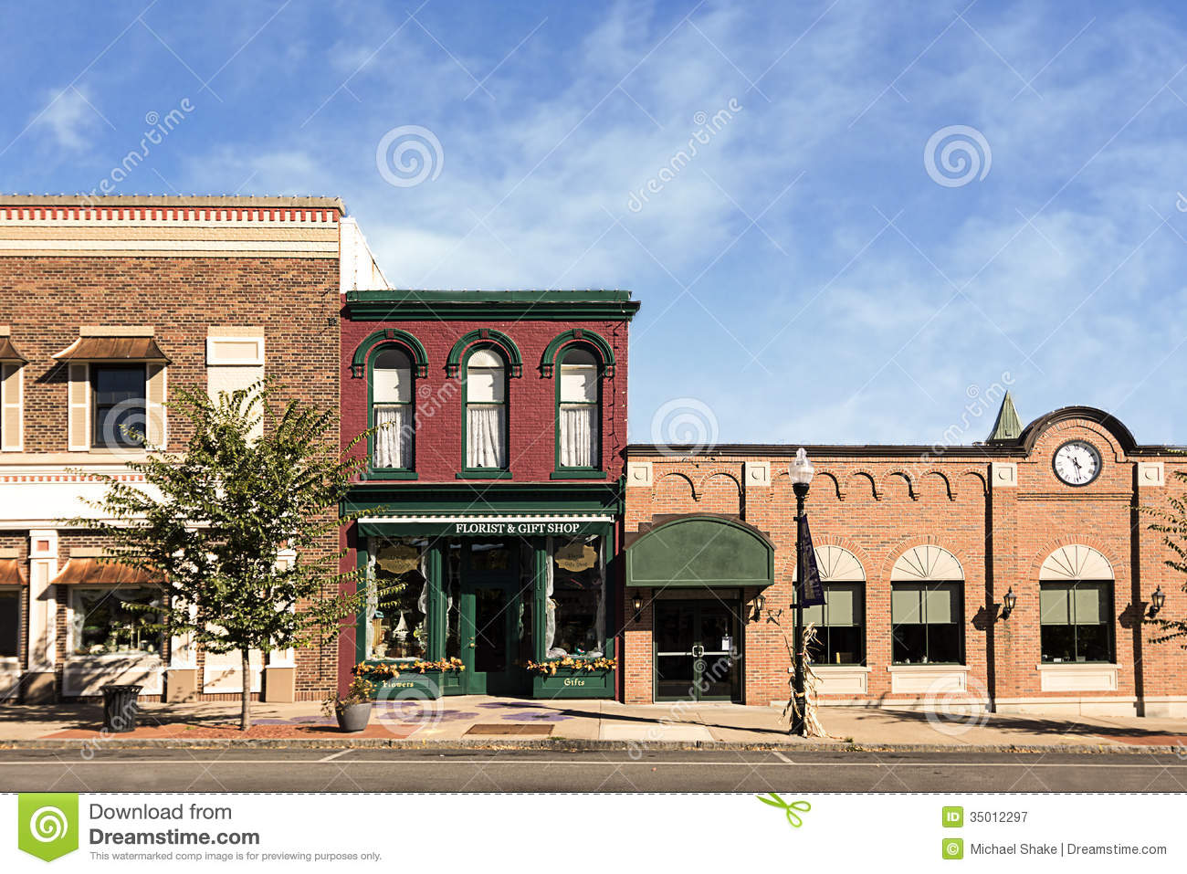 Small Town Main Street stock image. Image of clouds ...