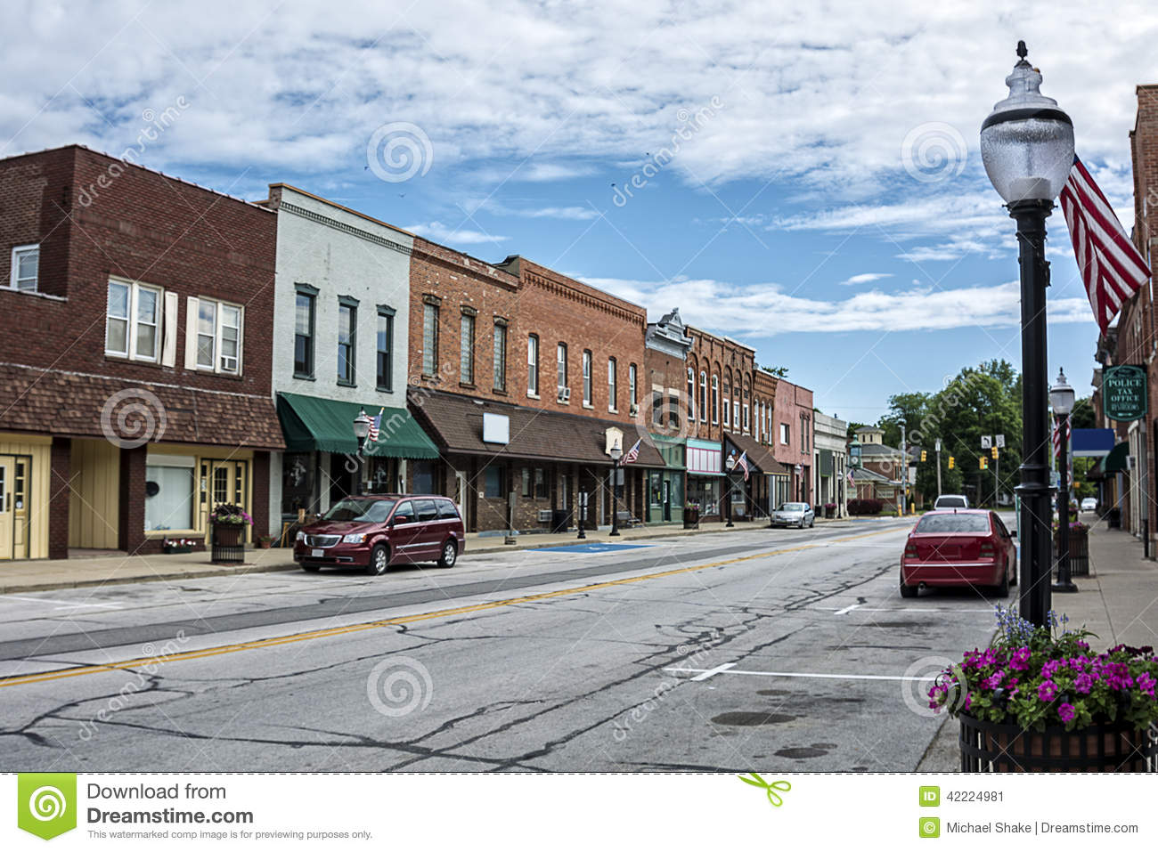 Small Town Main Street Stock Image Image Of Country