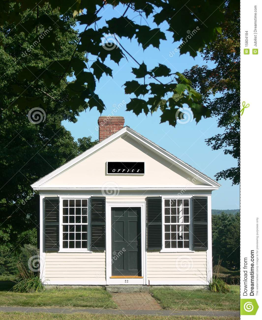 Small Town: Office Building And Trees Stock Images