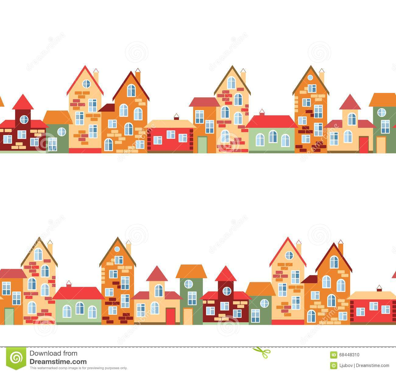 Small Town Panorama With Cute Houses. Seamless European