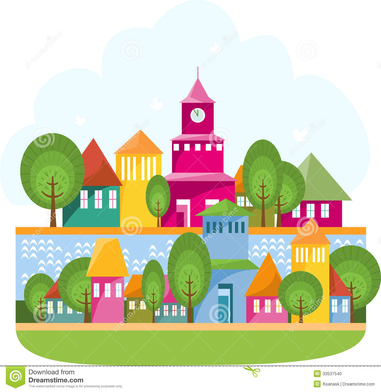 Town Landscape Vector Illustration: Small Town On The River Stock Vector. Illustration Of Roof