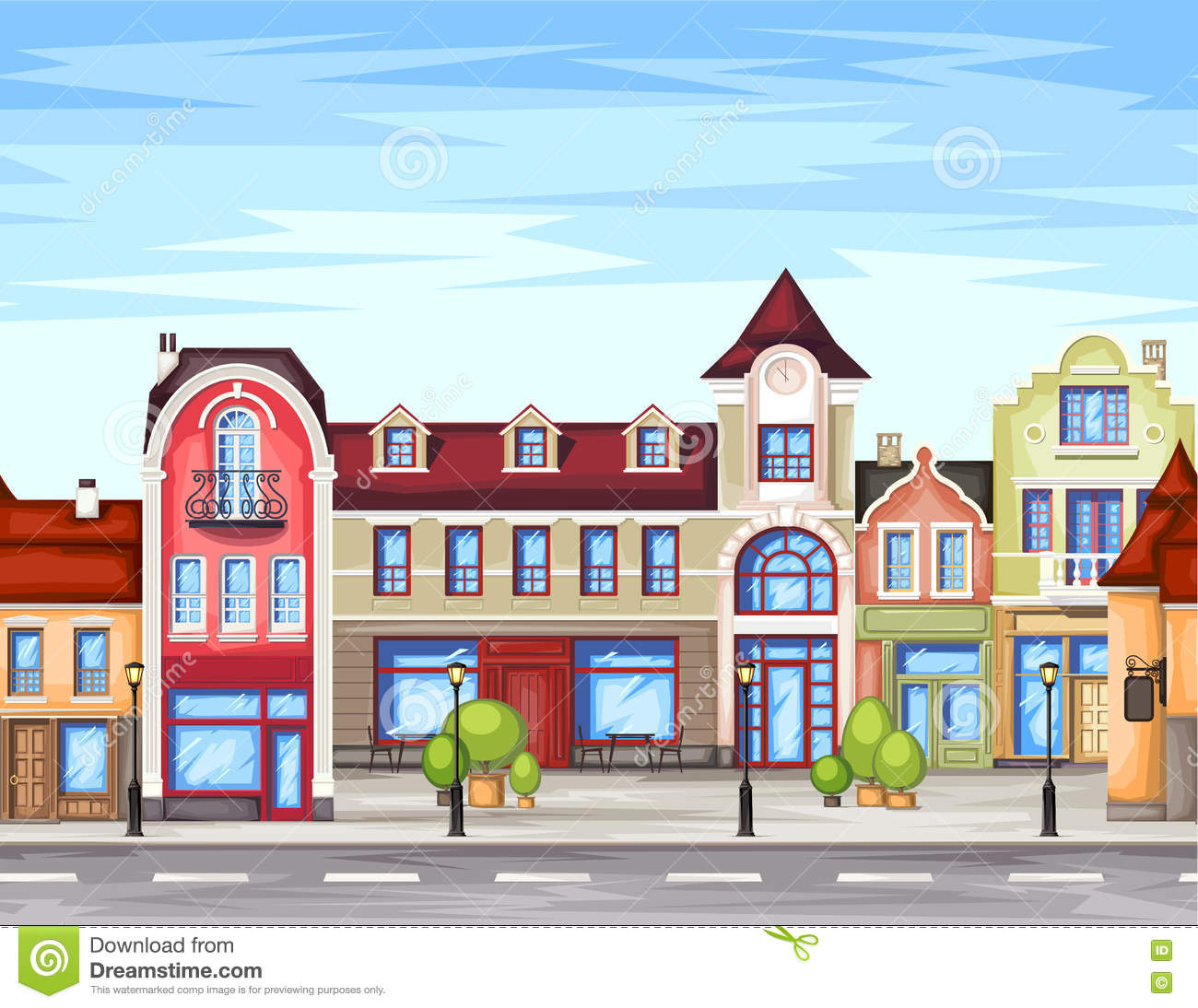 Town Landscape Vector Illustration: Small Town Stock Illustrations