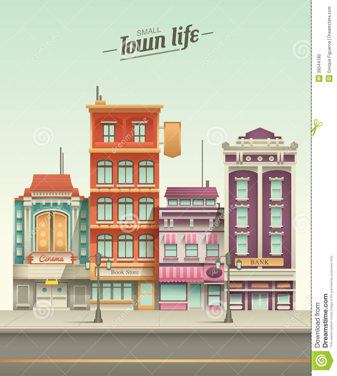 Small Town Street View With Retro Colors Stock Vector ...