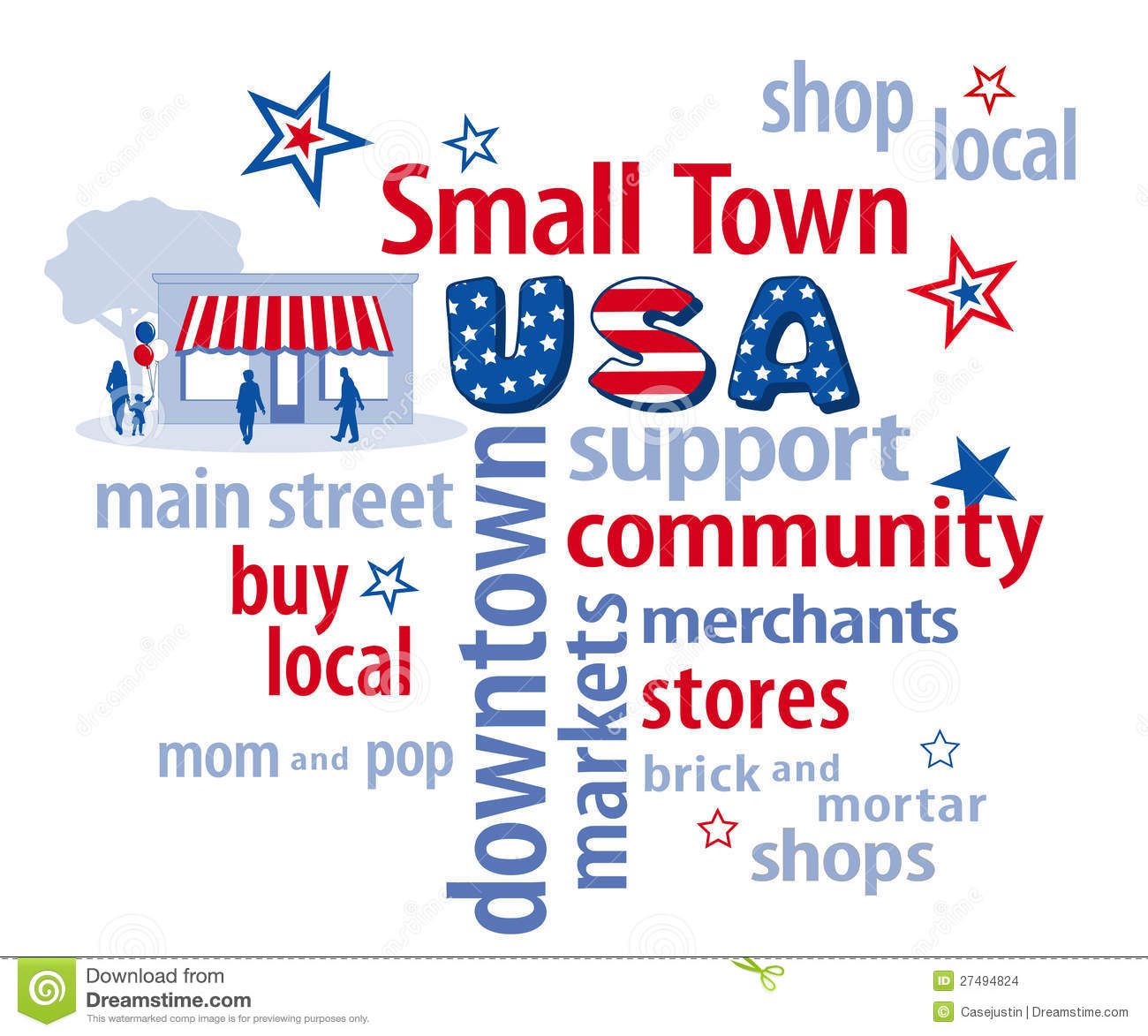 Small Town Usa Word Cloud Stock Vector Illustration Of