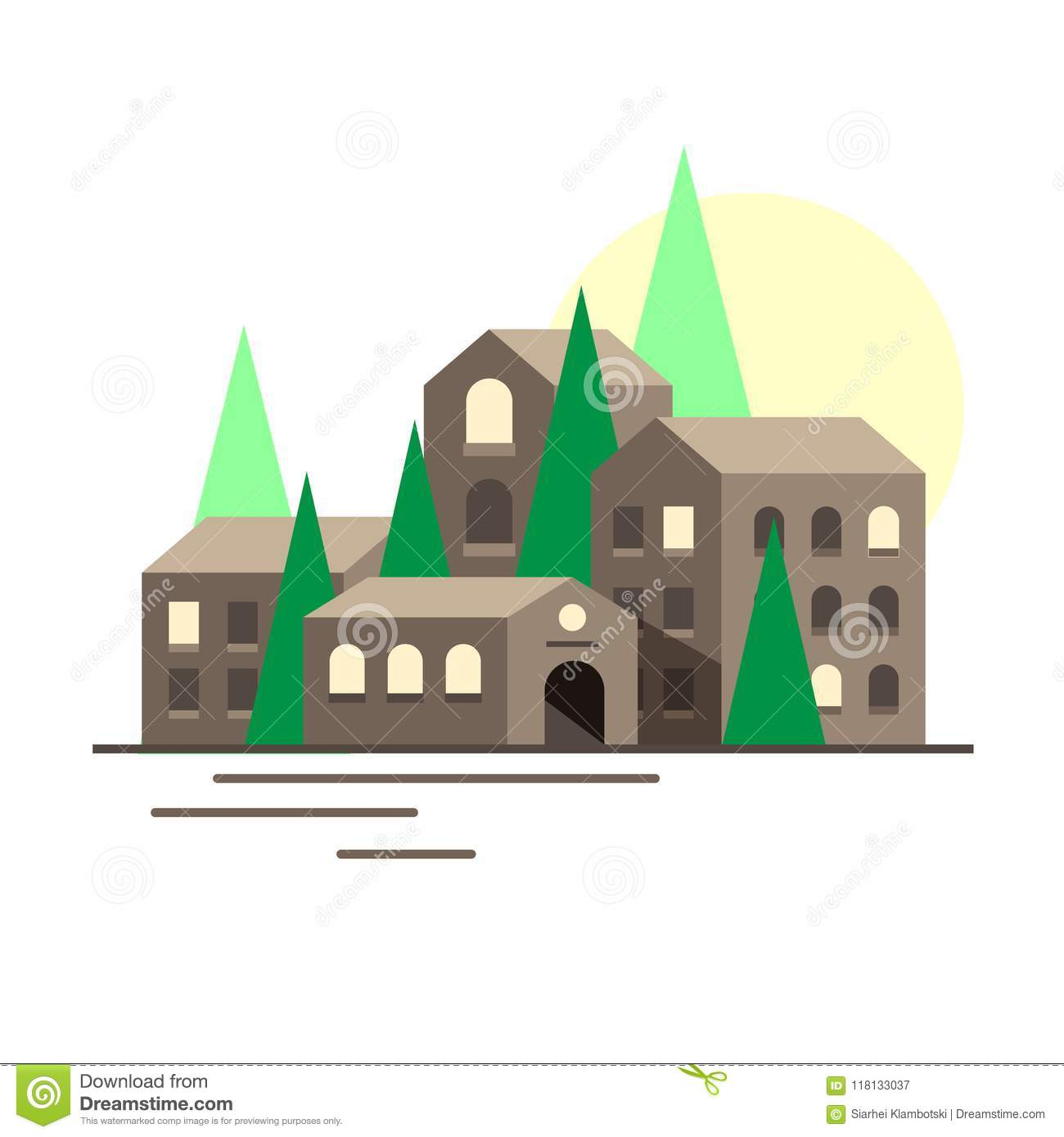 Small Town Vector Stock Vector Illustration Of Exterior