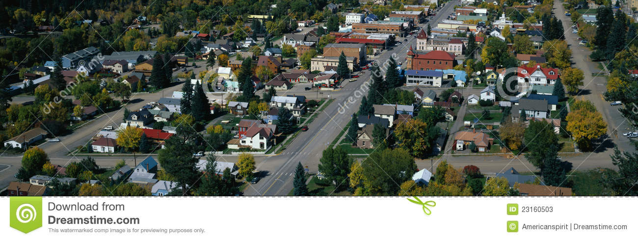 Small Town In The Western Part Of The United State Stock